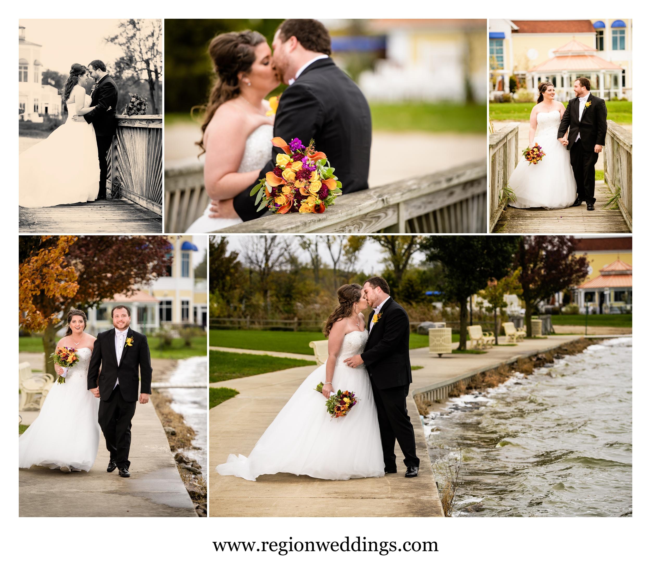 Wedding photos along Cedar Lake by Lighthouse Restaurant.
