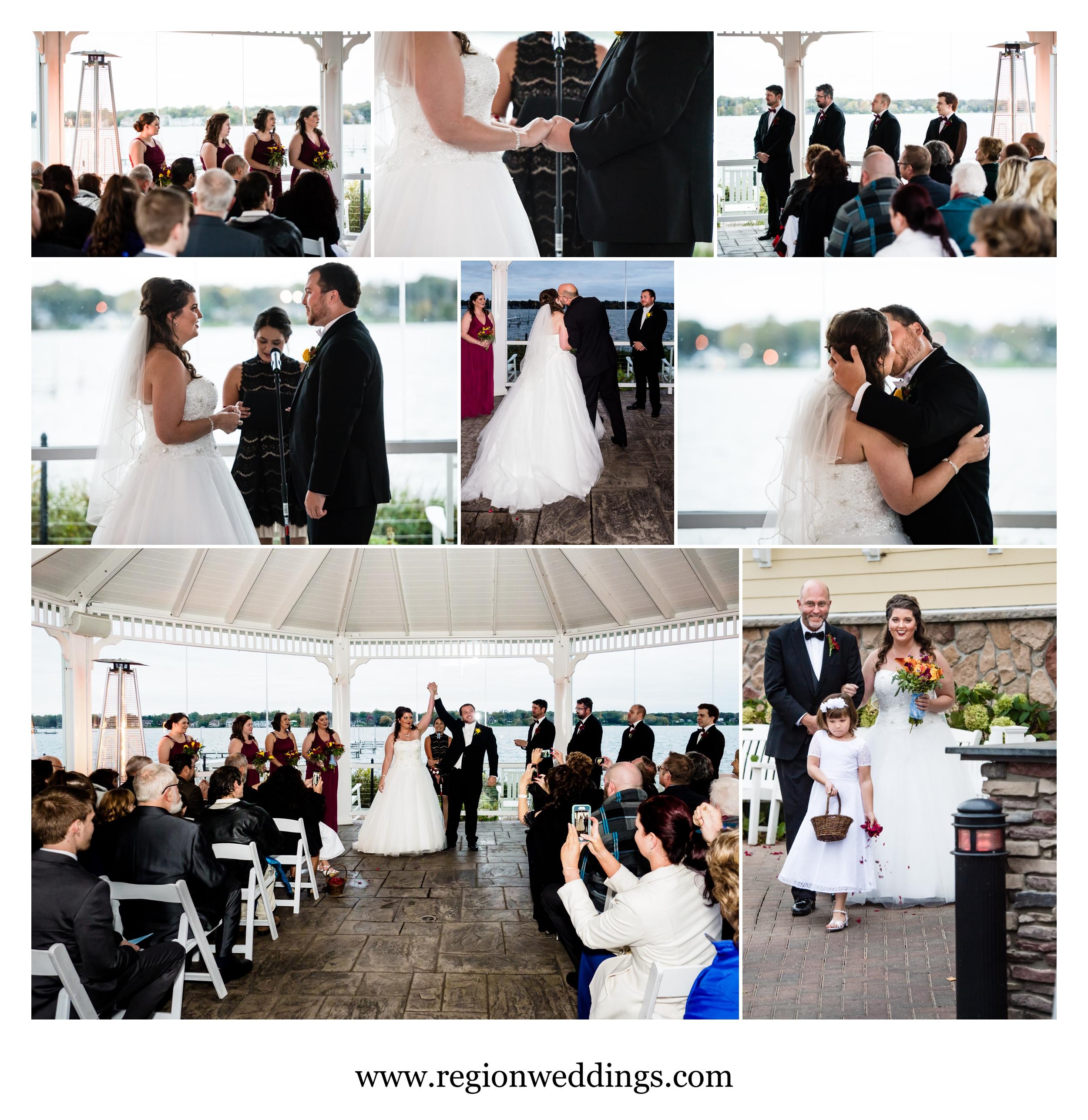 Outdoor Fall wedding ceremony at Lighthouse restaurant gazebo.