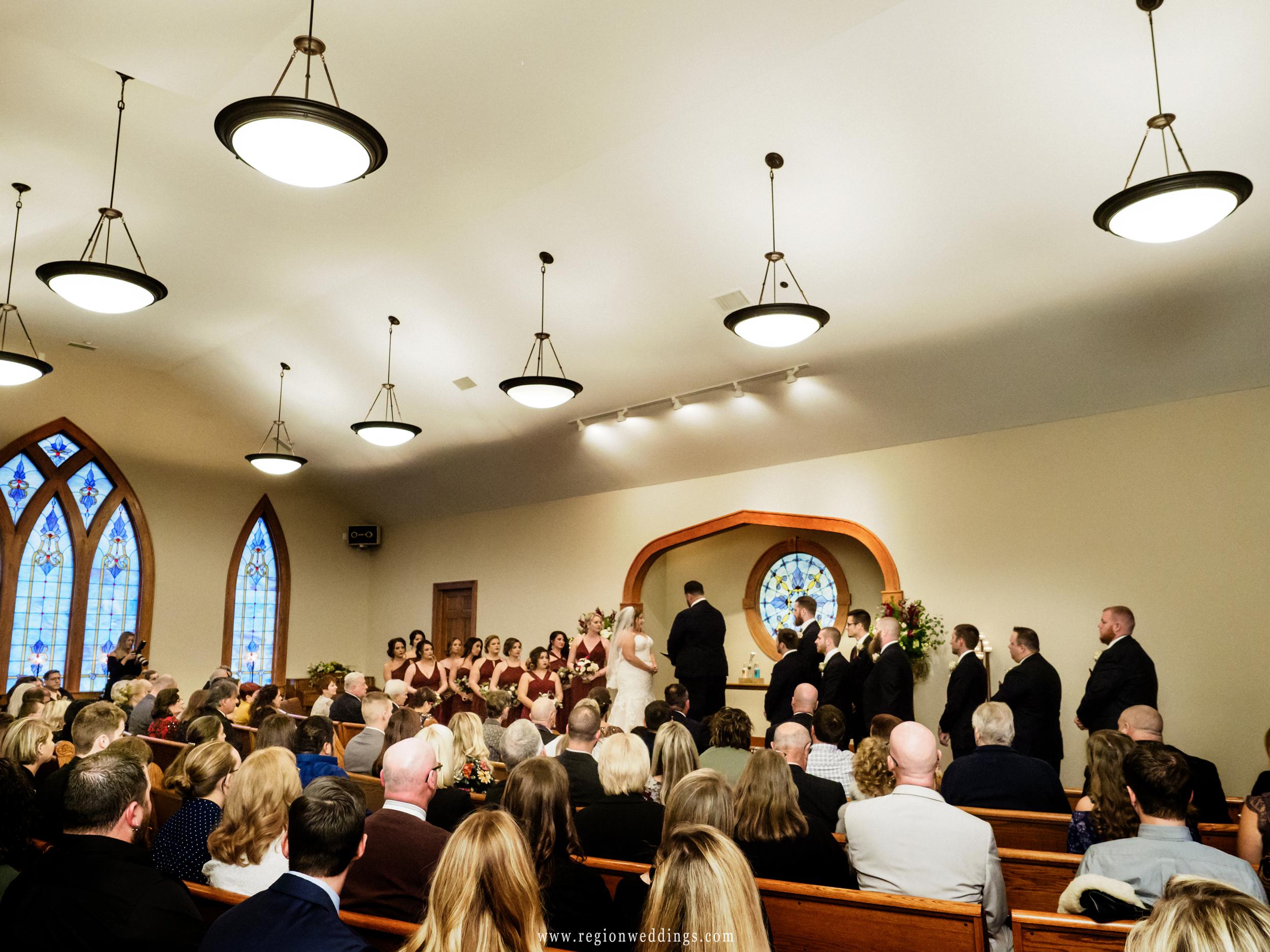 Wedding ceremony inside Aberdeen Chapel.