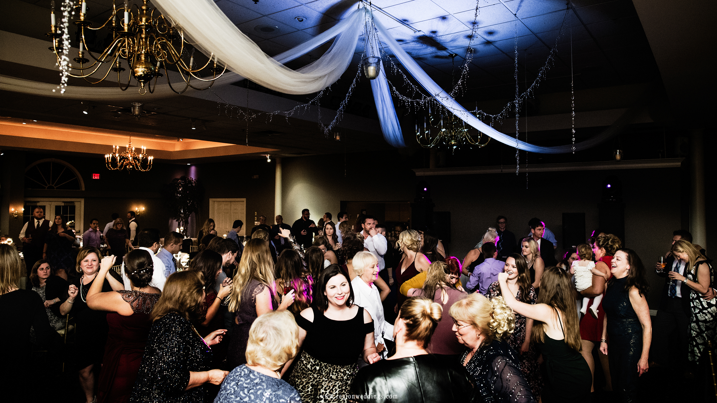 The packed dance floor during a wedding reception at Aberdeen Manor in Valparaiso, Indiana.