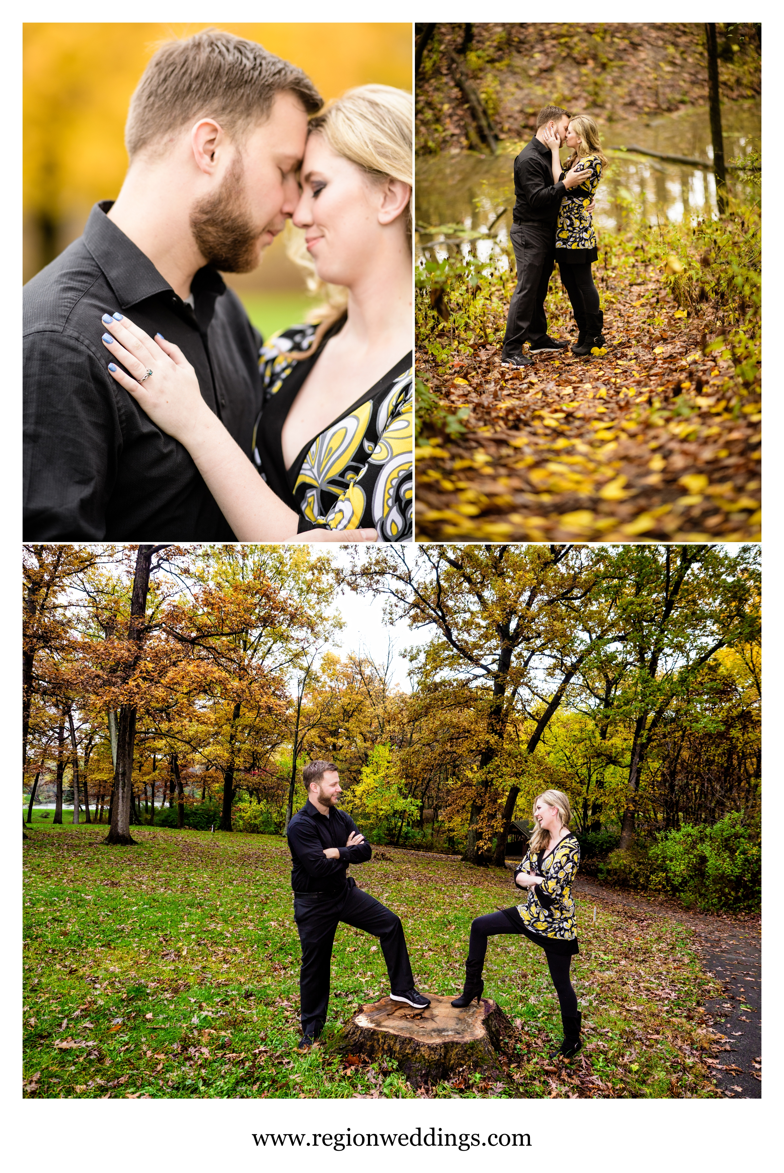 Autumn leaves are everywhere for a Fall engagement session in Crown Point, Indiana.