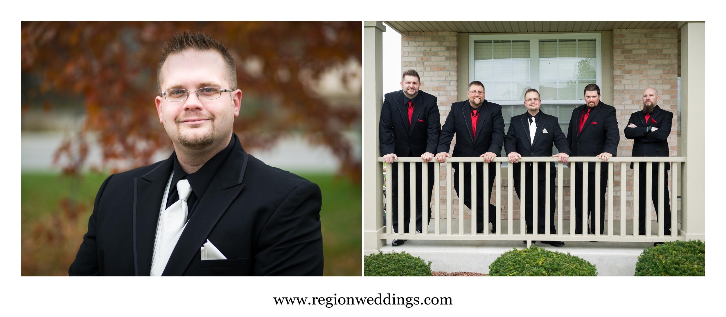 Pre ceremony photos of the groomsmen.