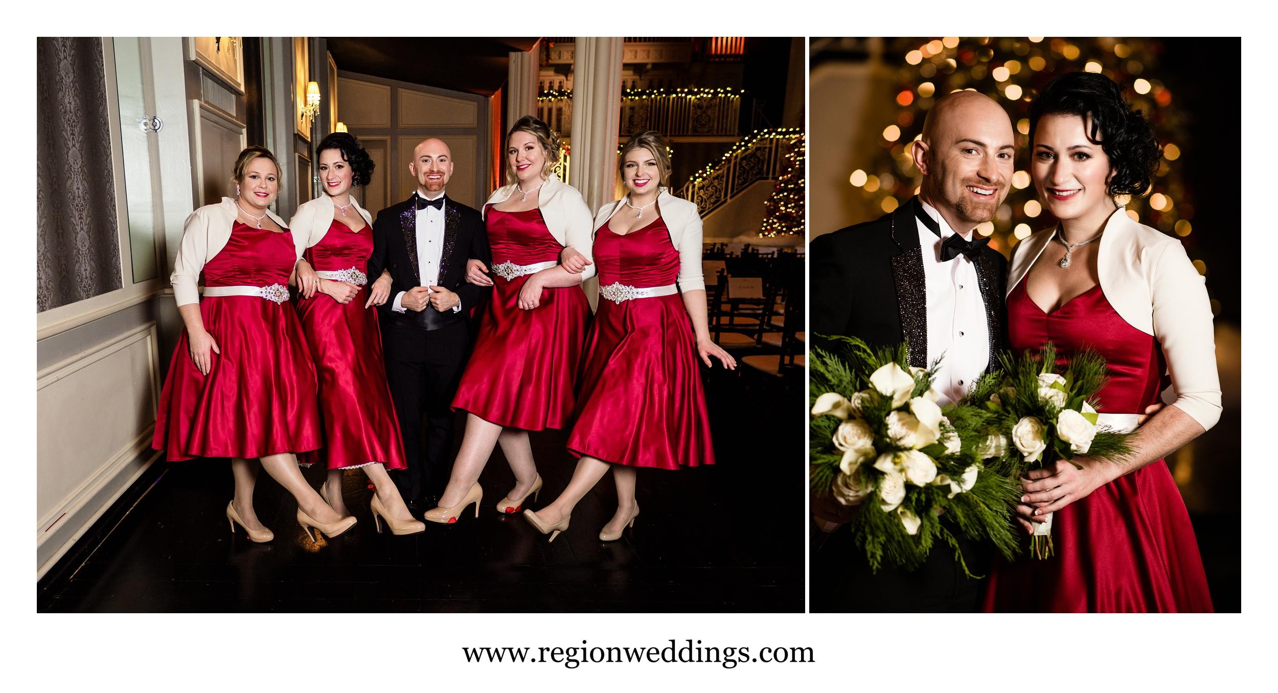 The grooms-maids kick up a leg for some fun wedding photos.