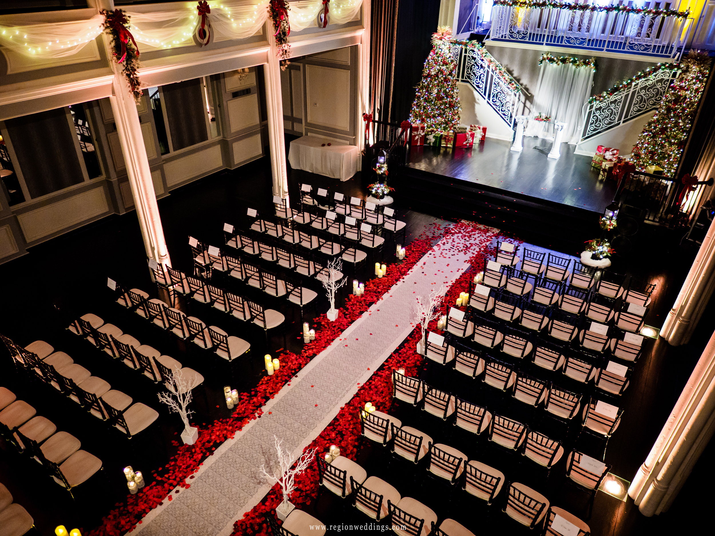 Christmas wedding ceremony at The Uptown Center in Michigan City.