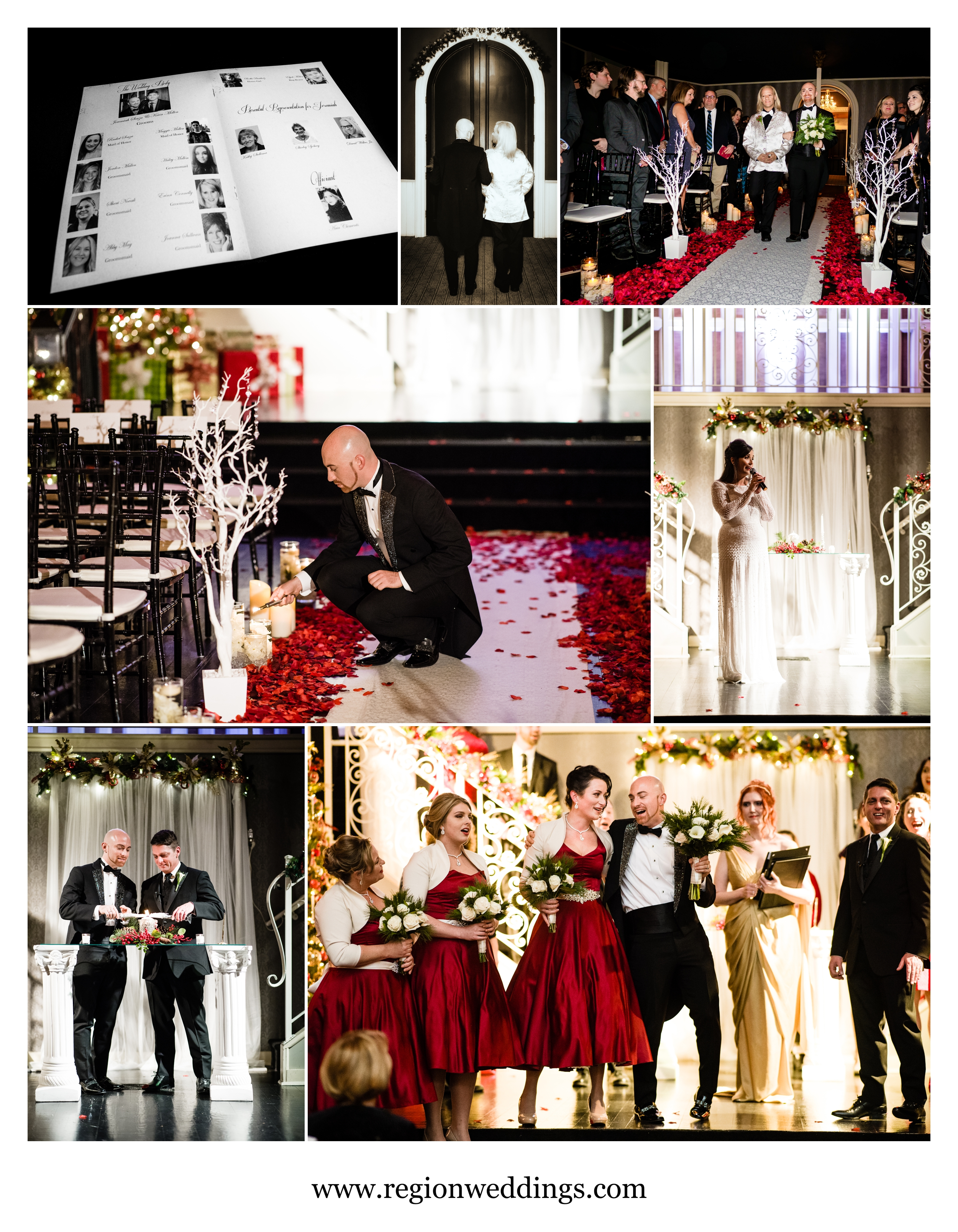 Christmas themed wedding ceremony at The Uptown Center.