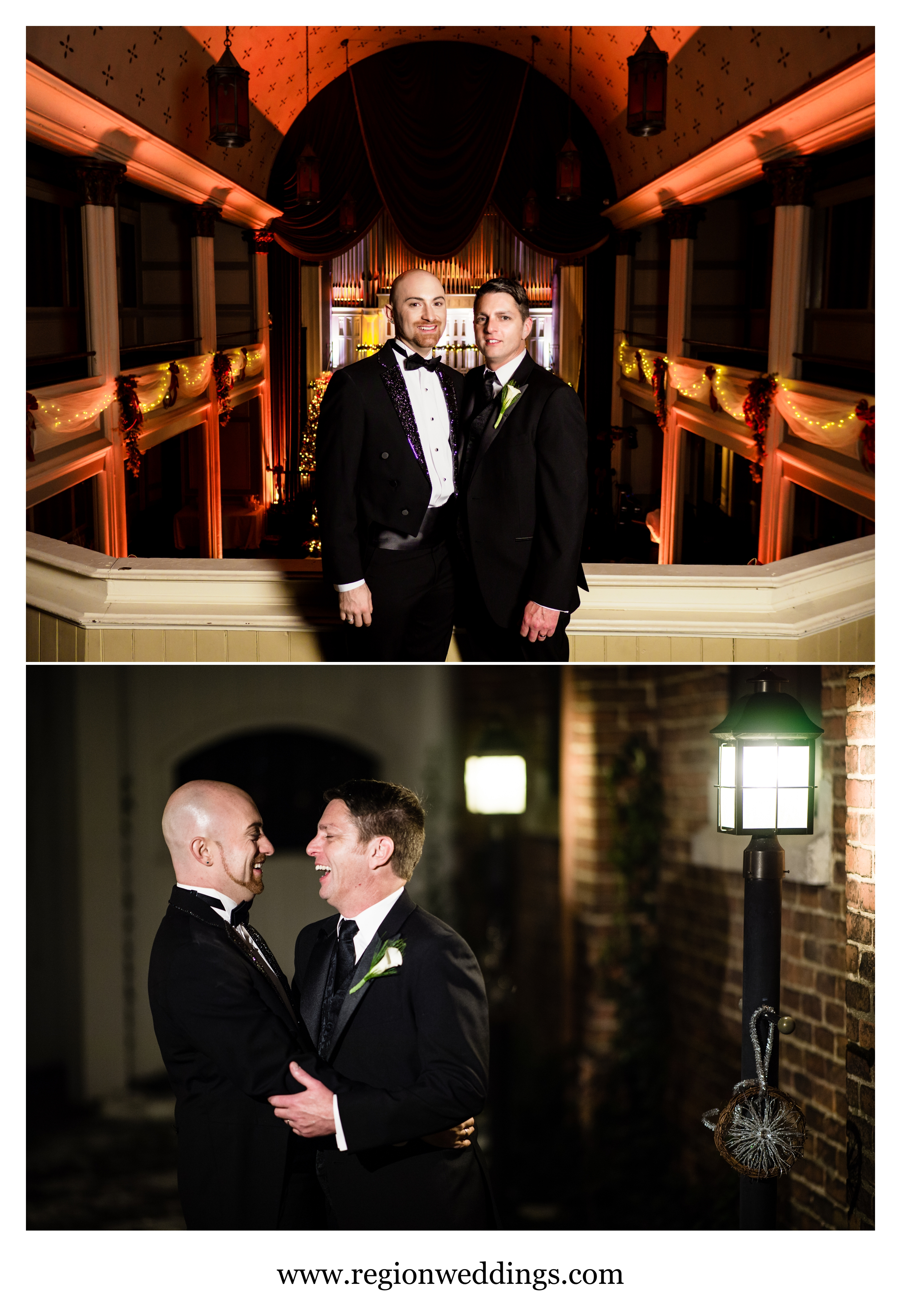 Two grooms celebrate at The Uptown Center in Michigan City.