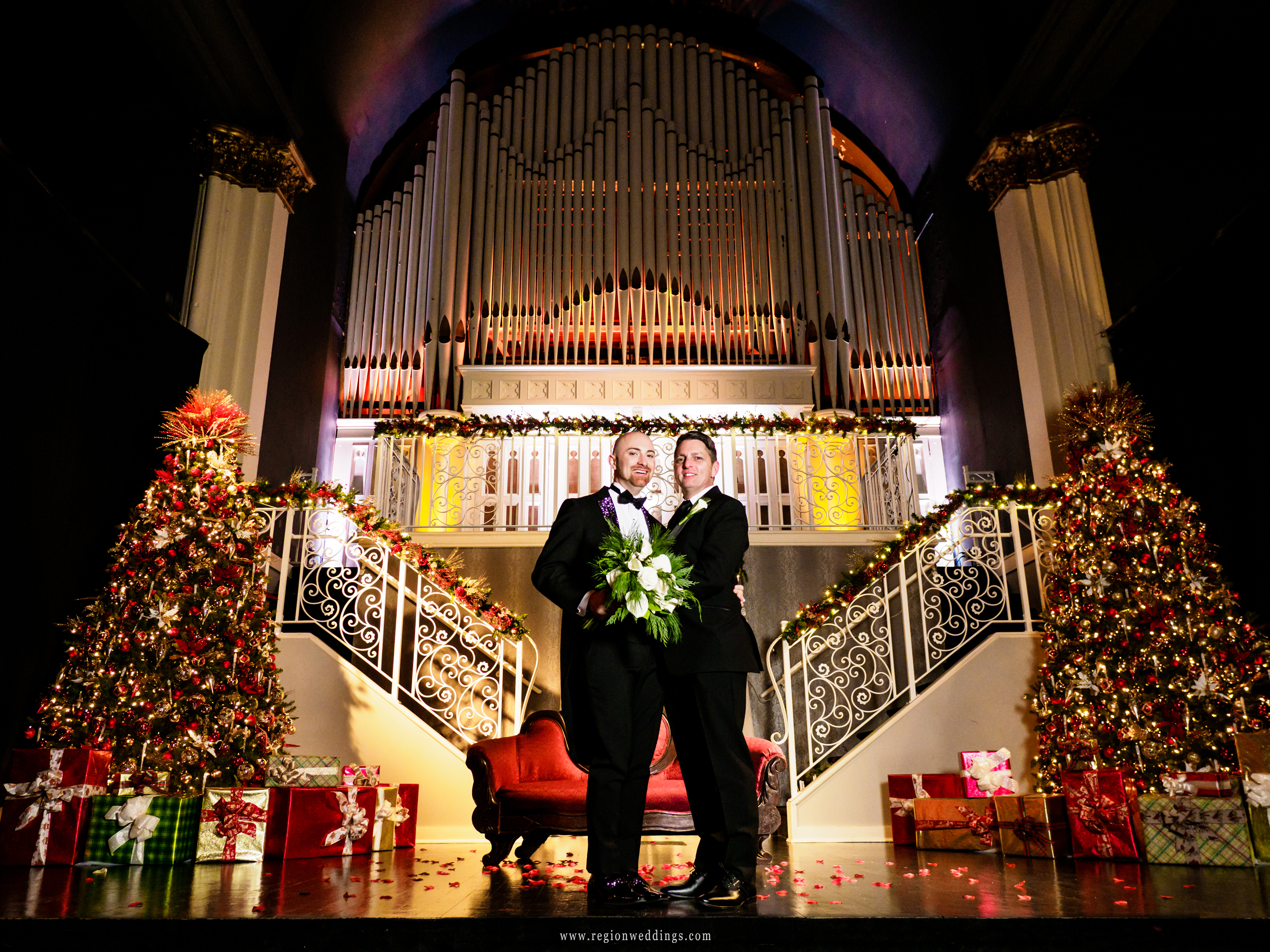 Two grooms, two Christmas trees.