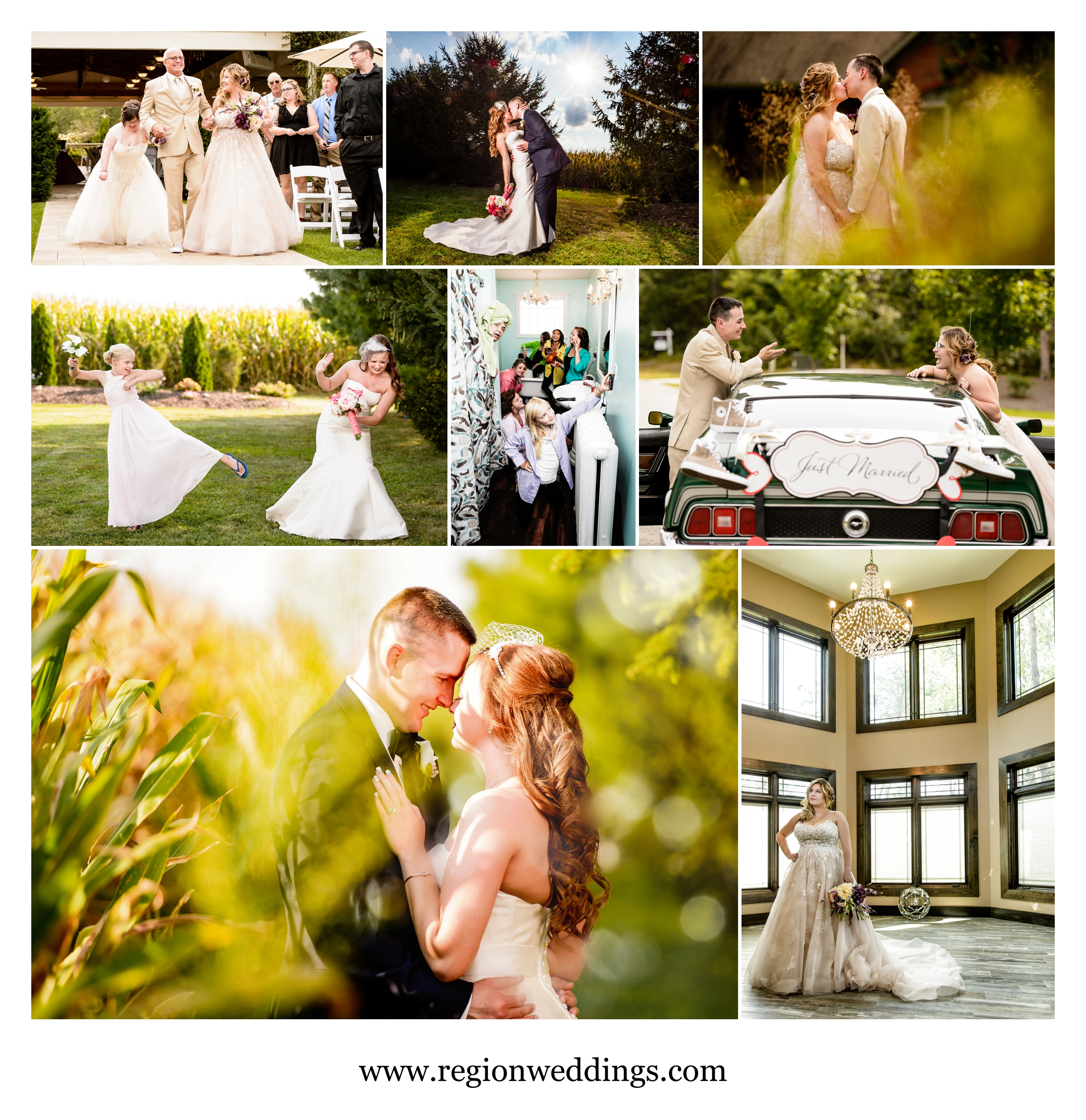 Late summer weddings at Meadow Springs Manor and Sandy Pines.