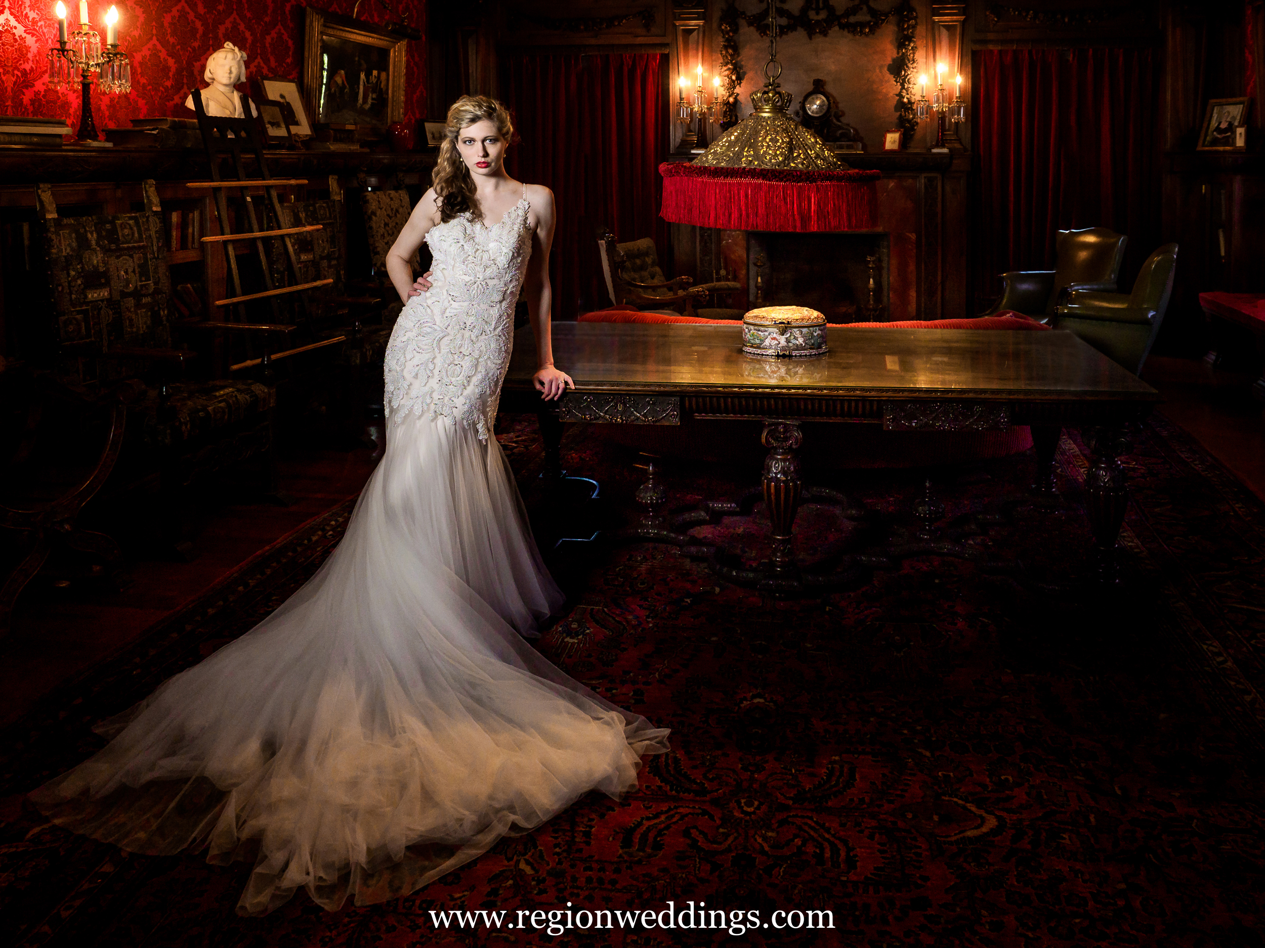 "Bride inside the ""red room"" at Barker Mansion."