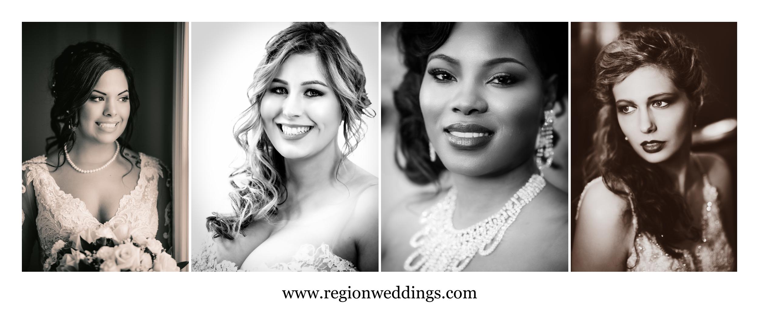Black and white bridal portraits.