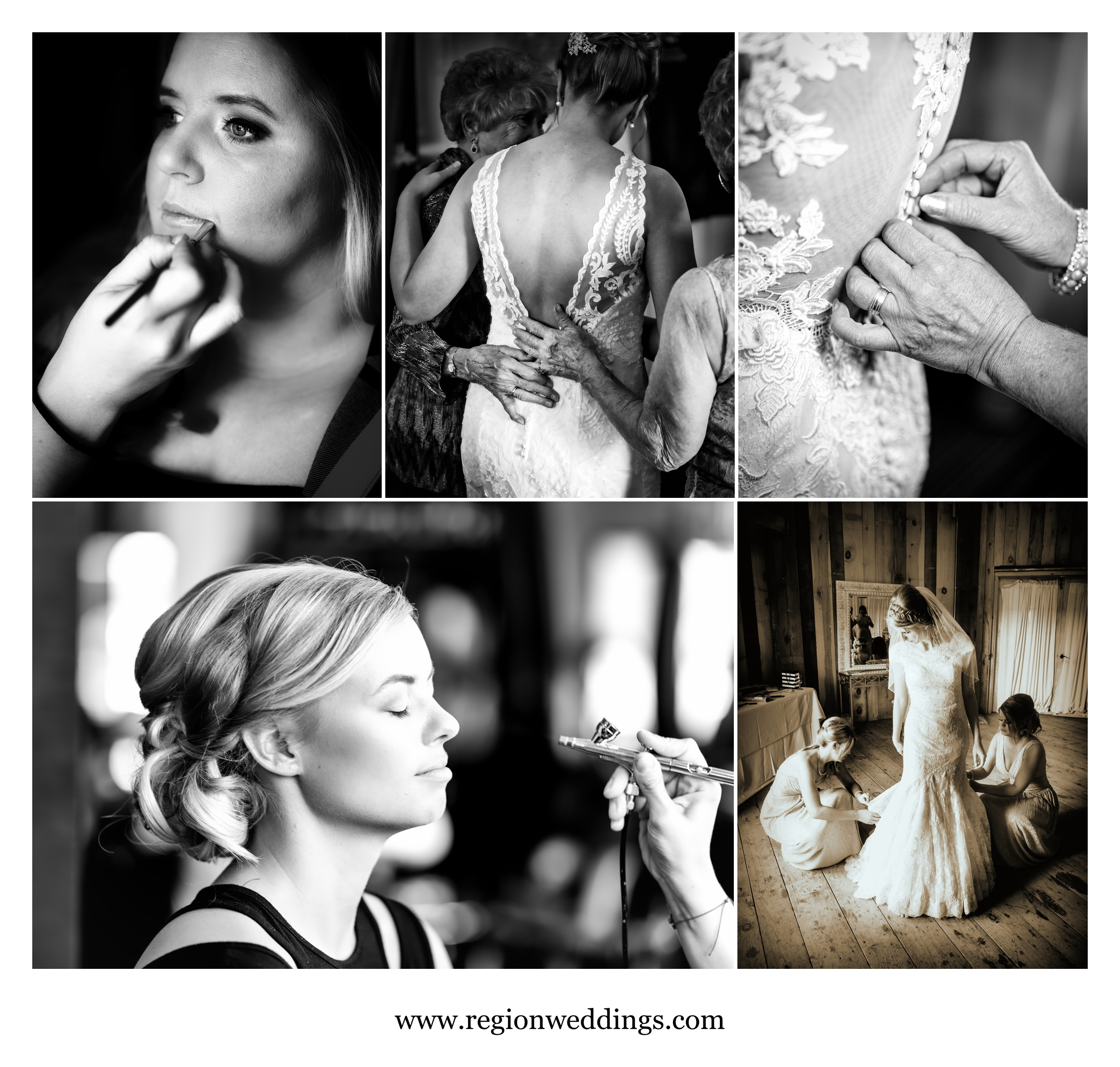 Bridal prep photos in black and white and sepia tones.
