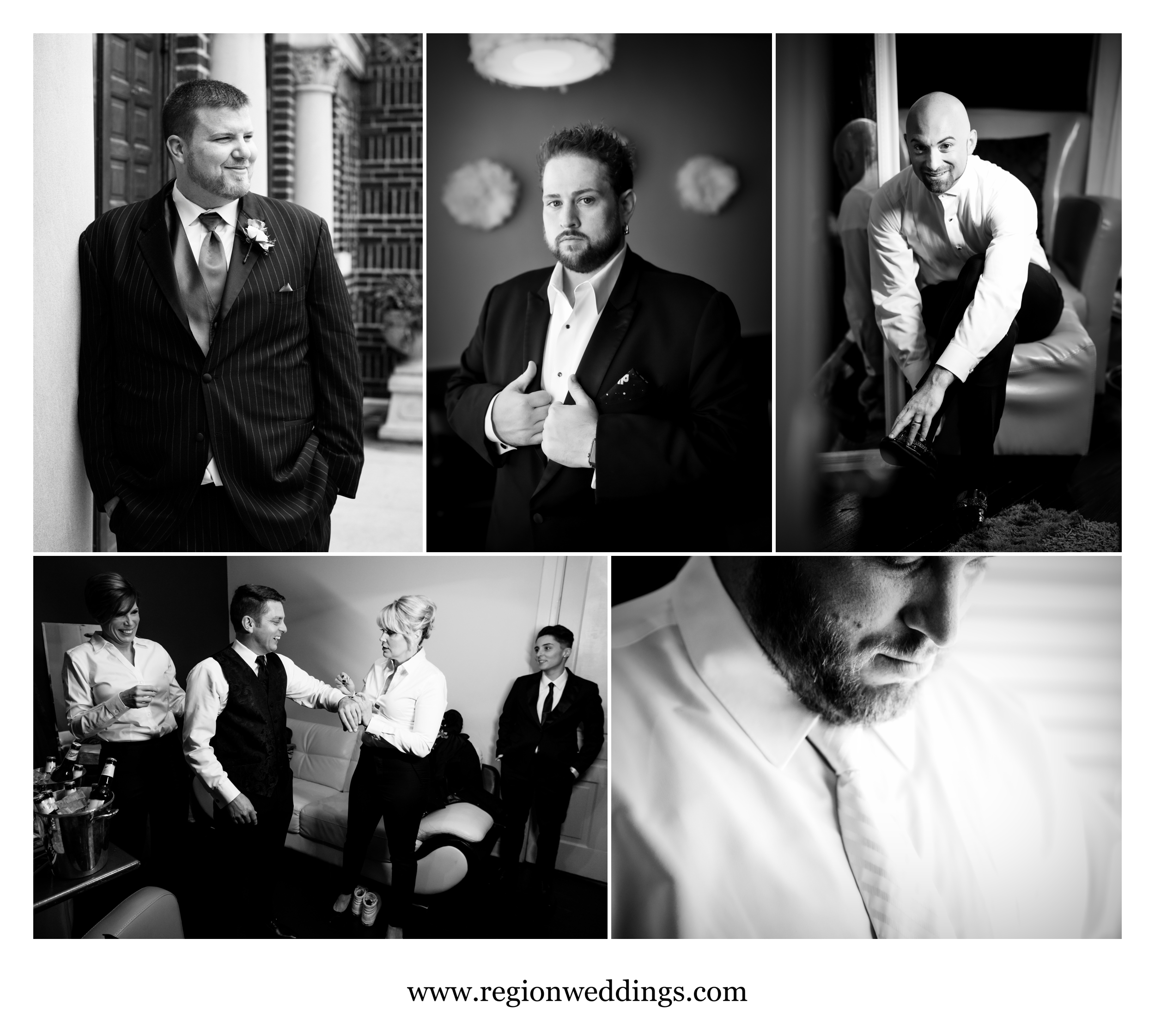 Groom getting ready photos in black and white.