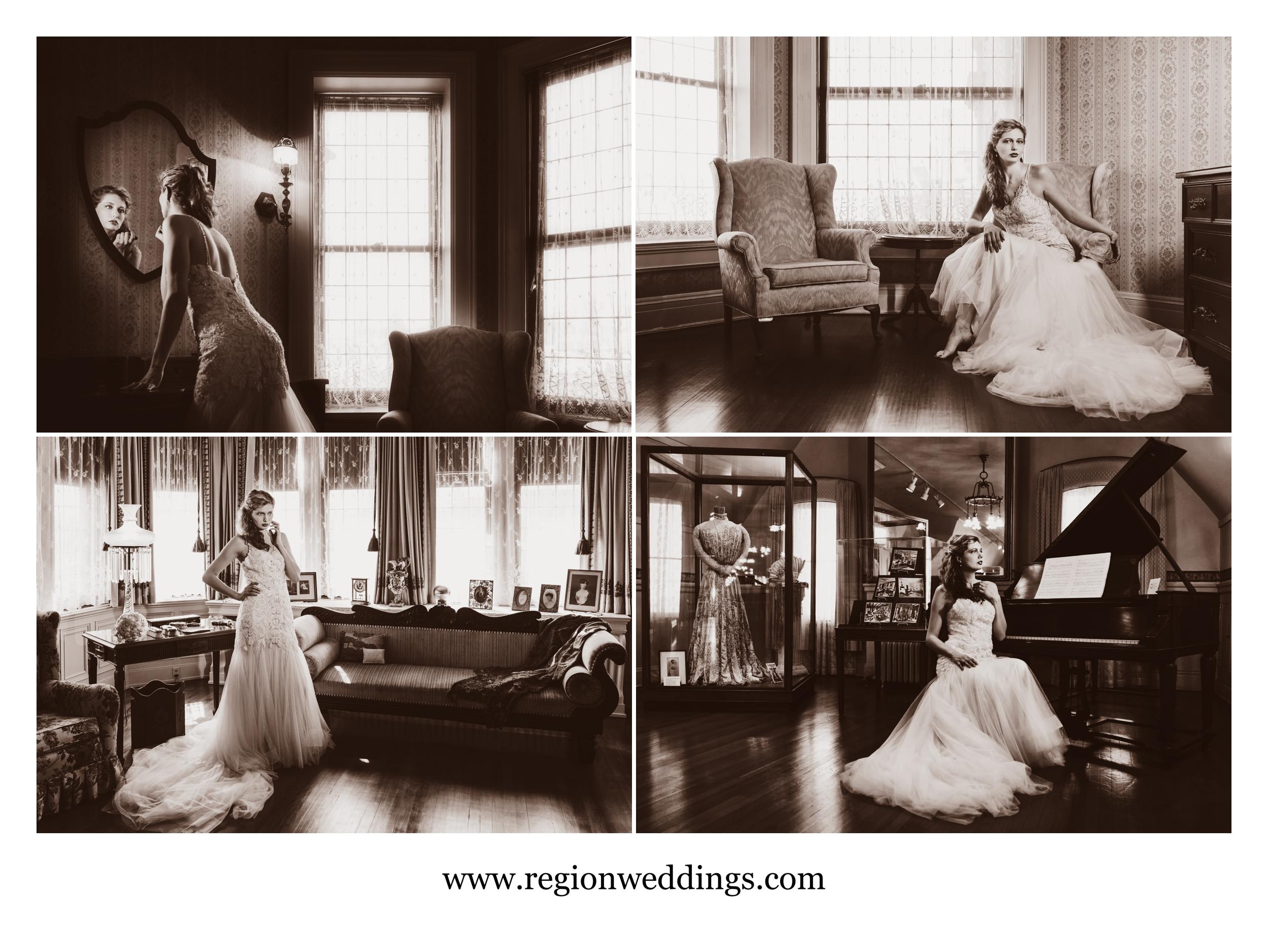 Vintage styled wedding photos at Barker Mansion.