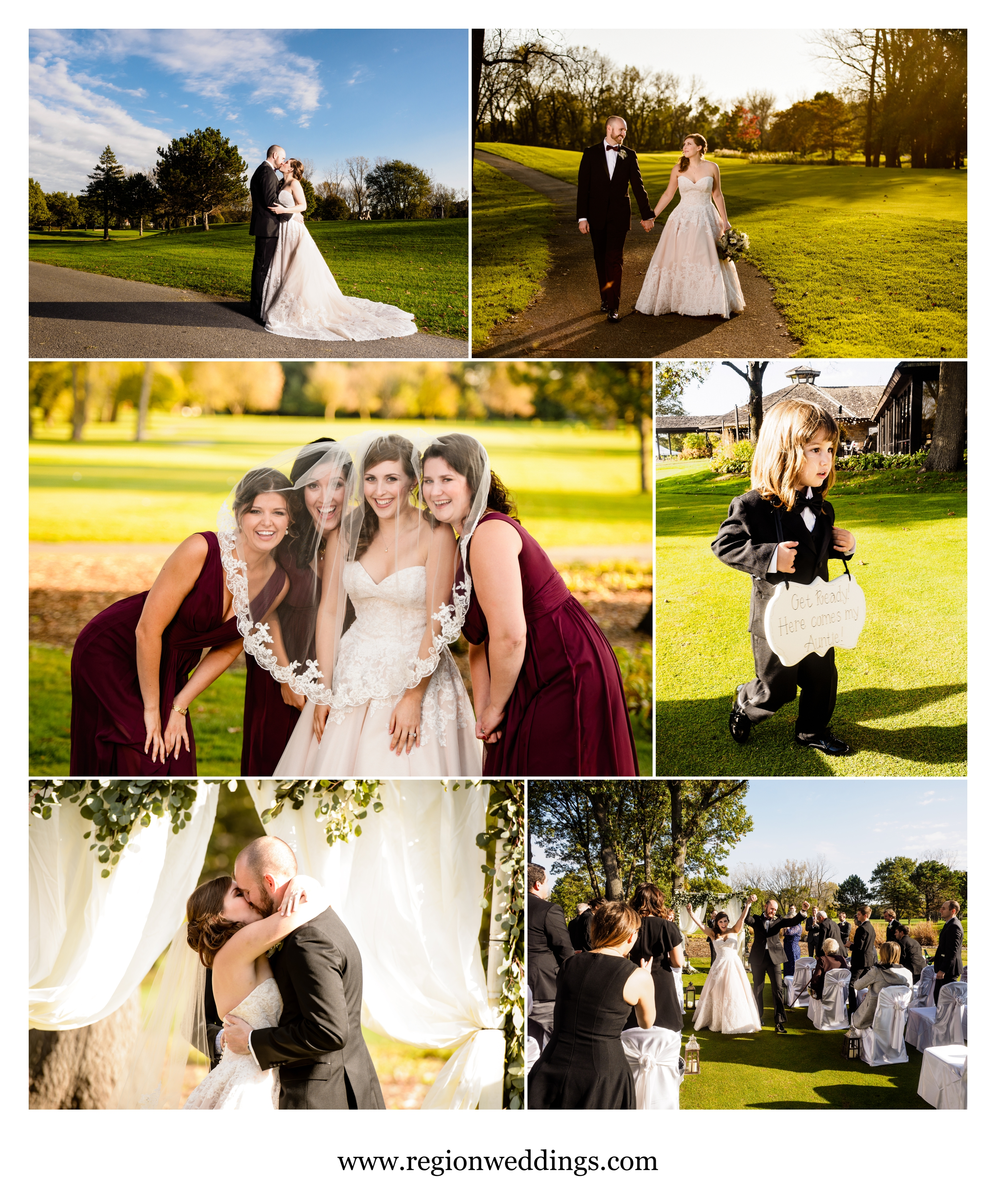 Fun outdoor wedding ceremony photos at Briar Ridge Country Club.