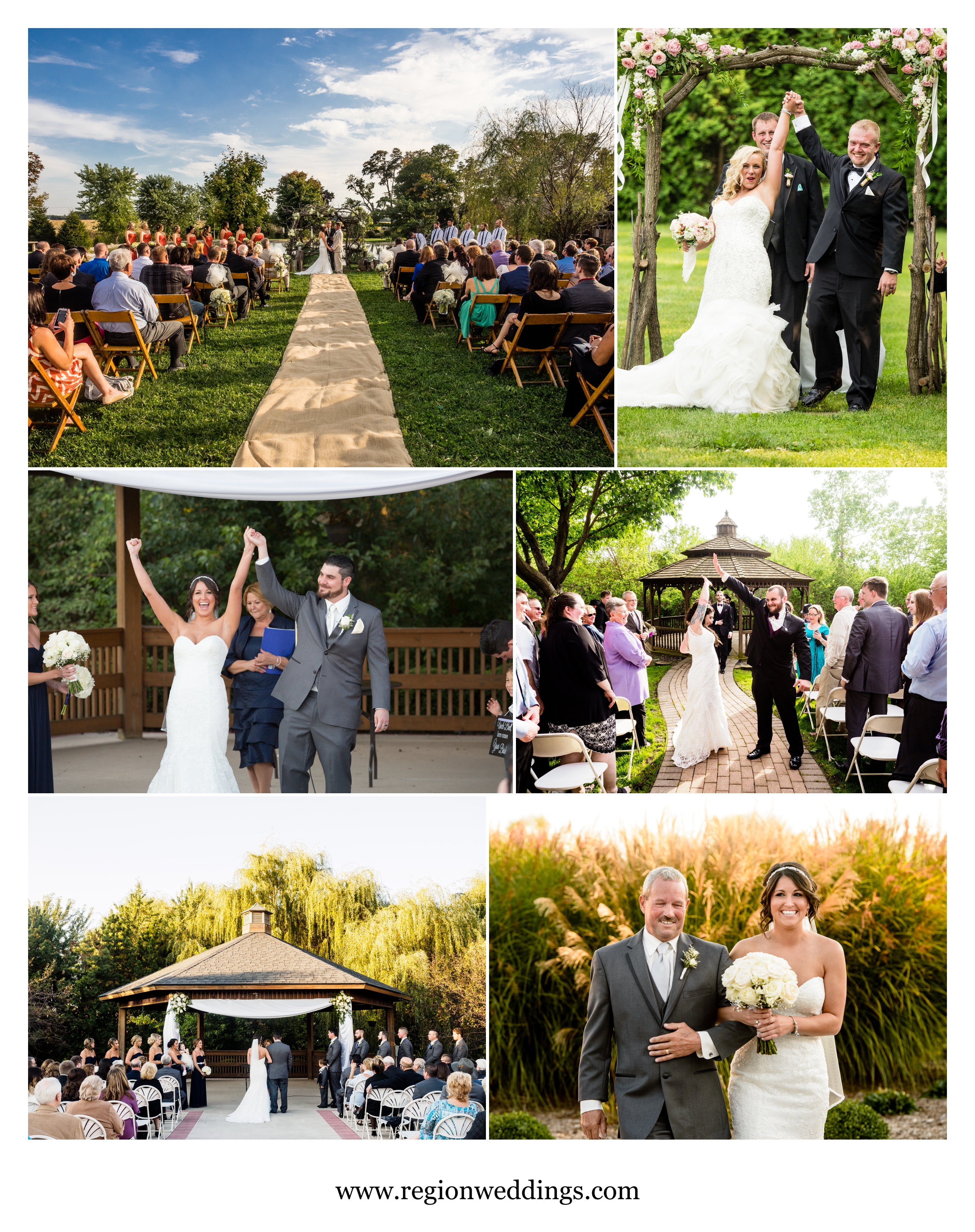 Outdoor wedding ceremonies in Northwest Indiana and Southwest Michigan.