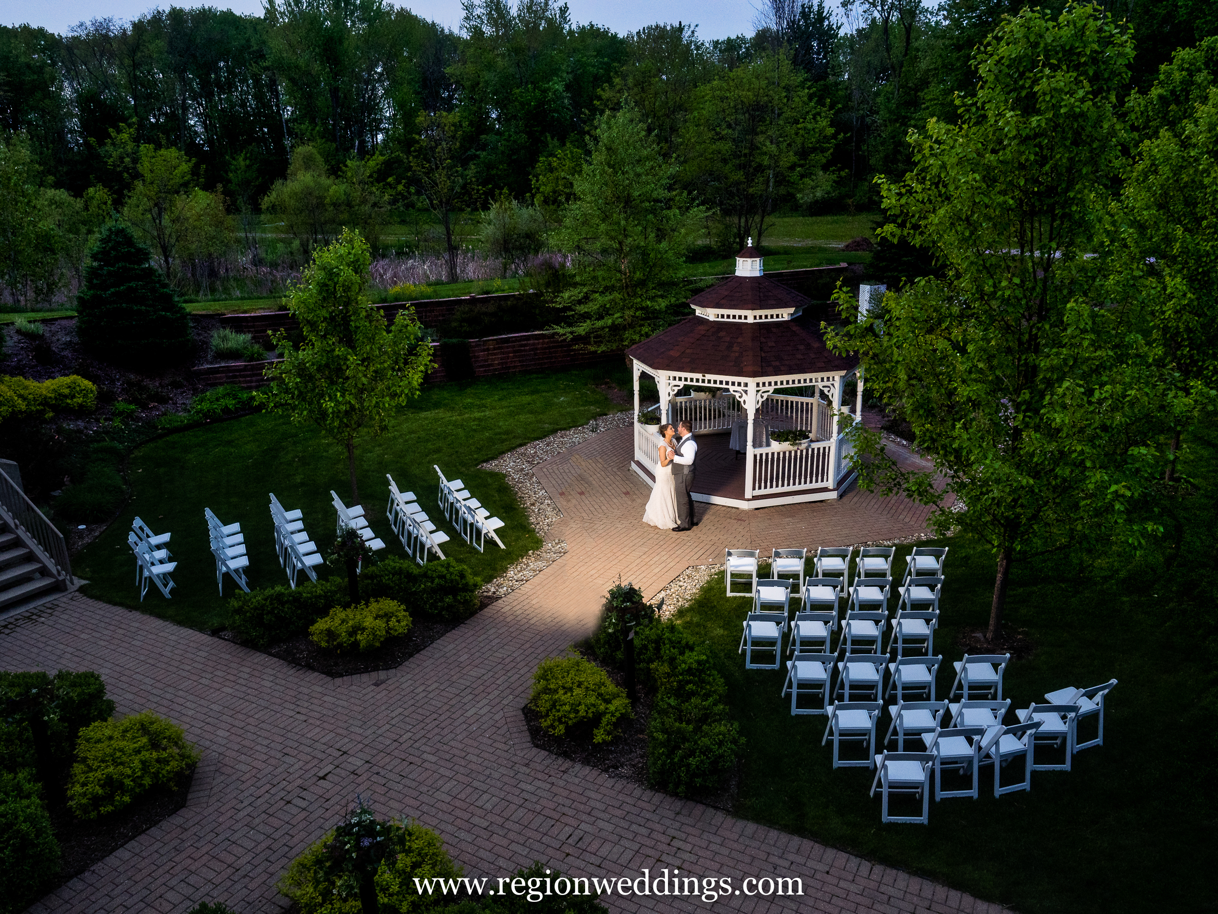 Outdoor wedding garden at Trinity Hall in Chesterton, Indiana.