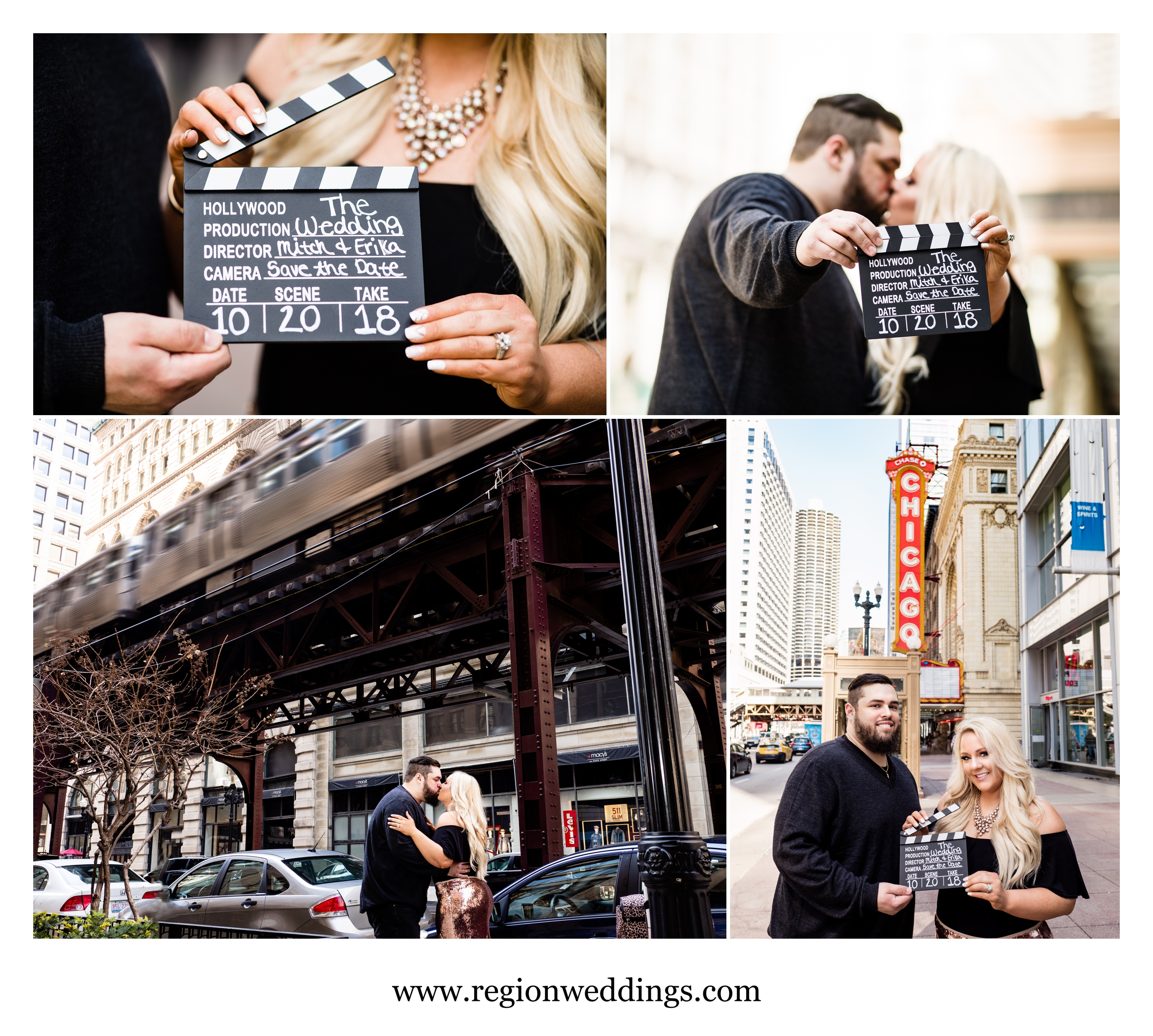 Movie themed engagement photos in Chicago.
