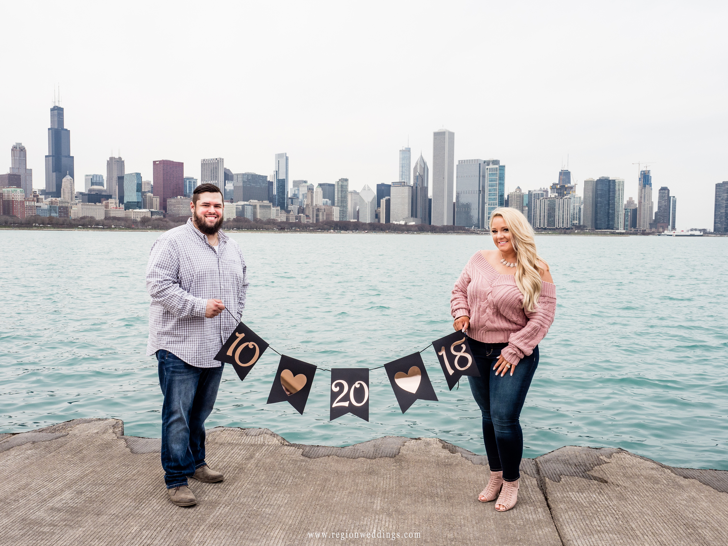 Save the date wedding banner on the Chicago lakefront.