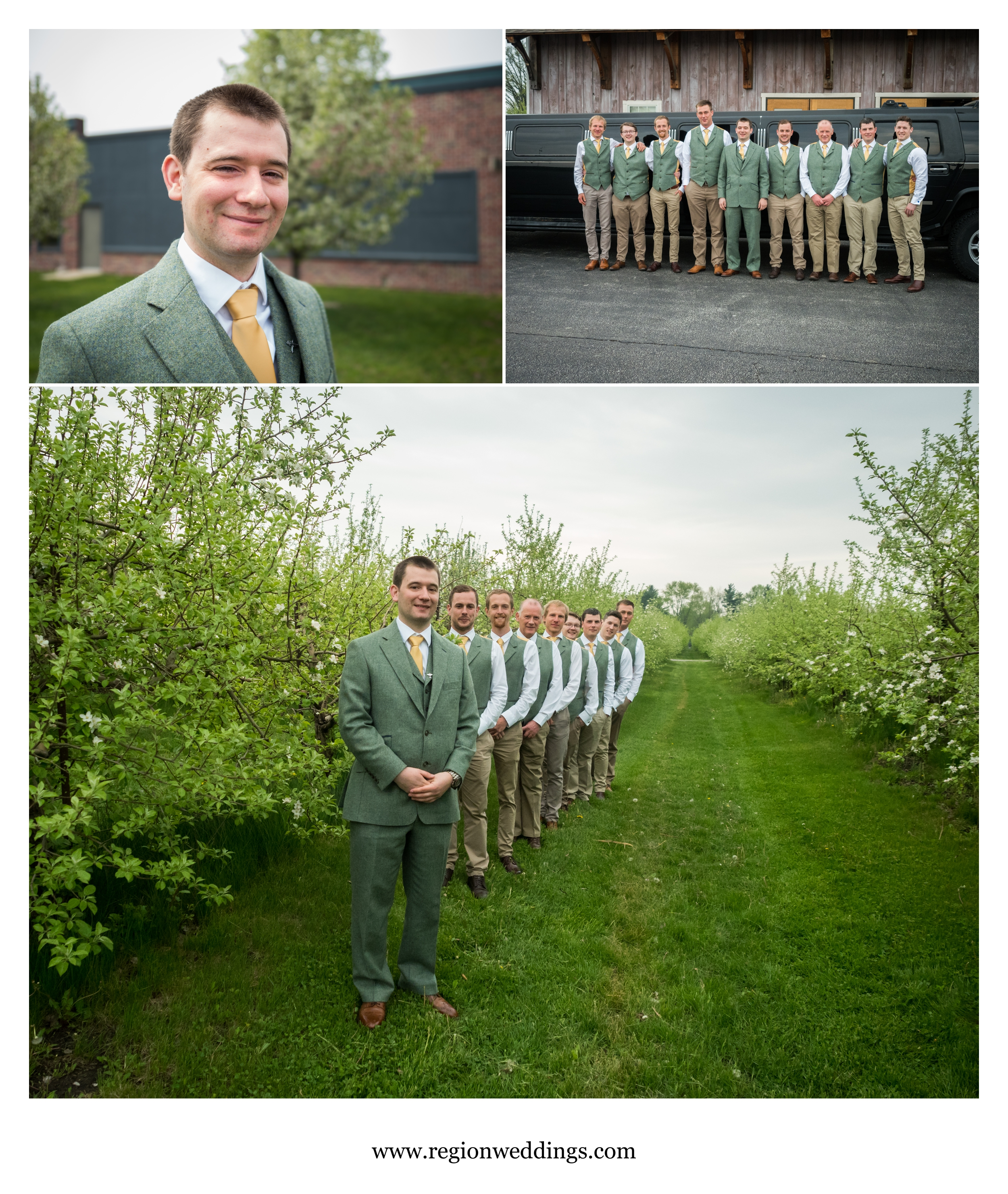 The groomsmen arrive at County Line Orchard.