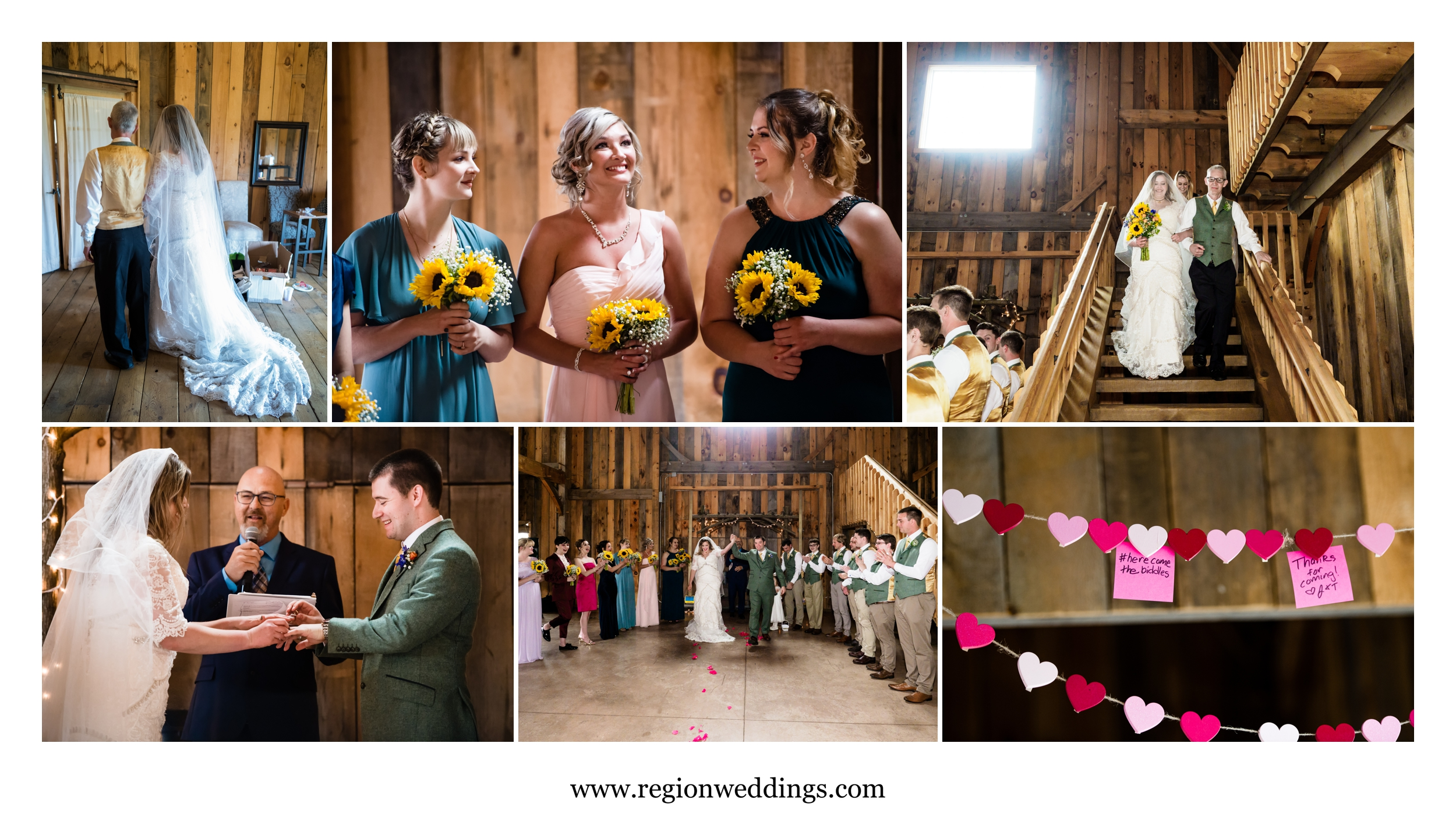 Indoor wedding ceremony at County Line Orchard.