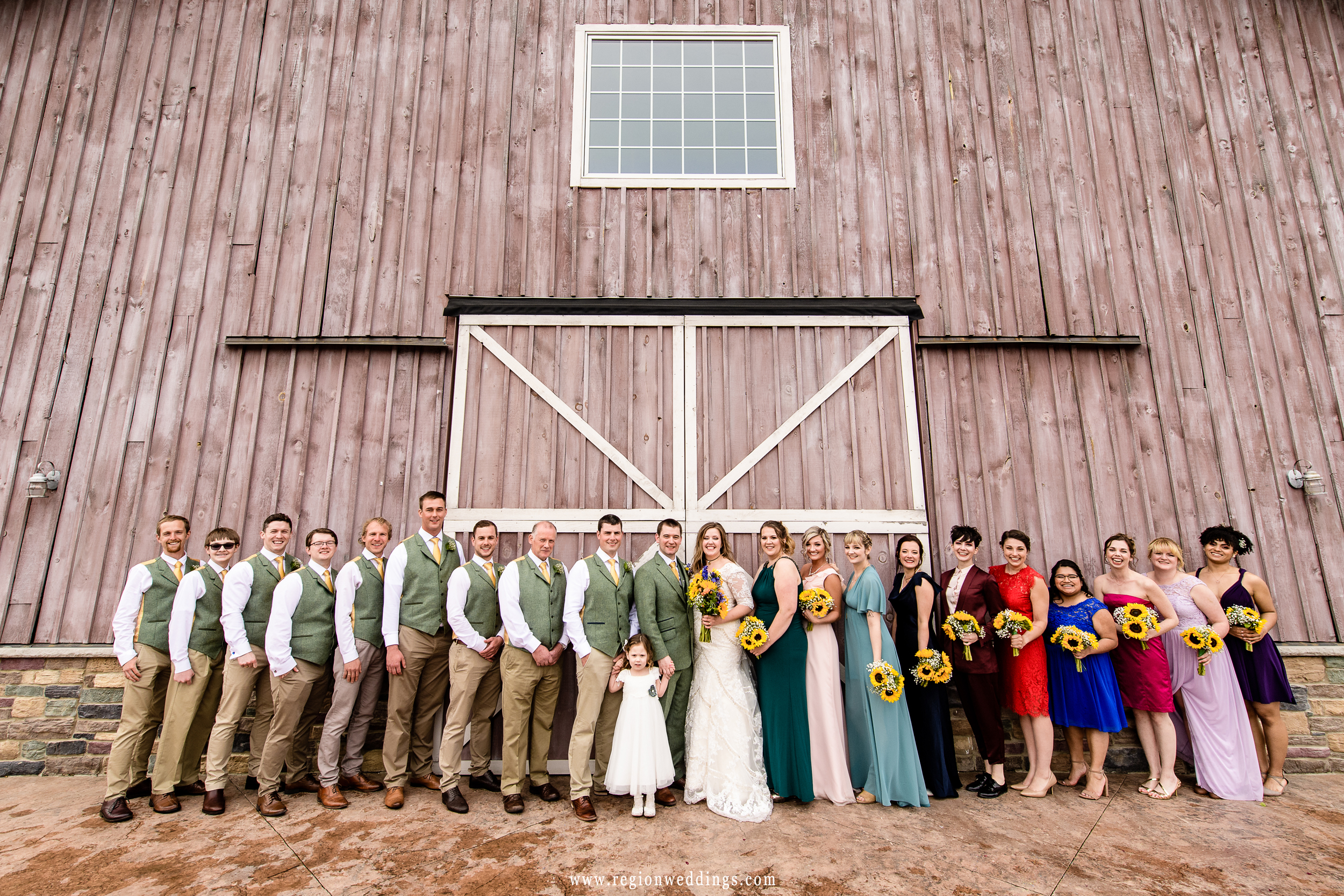 Wedding party group photo at County Line Orchard.