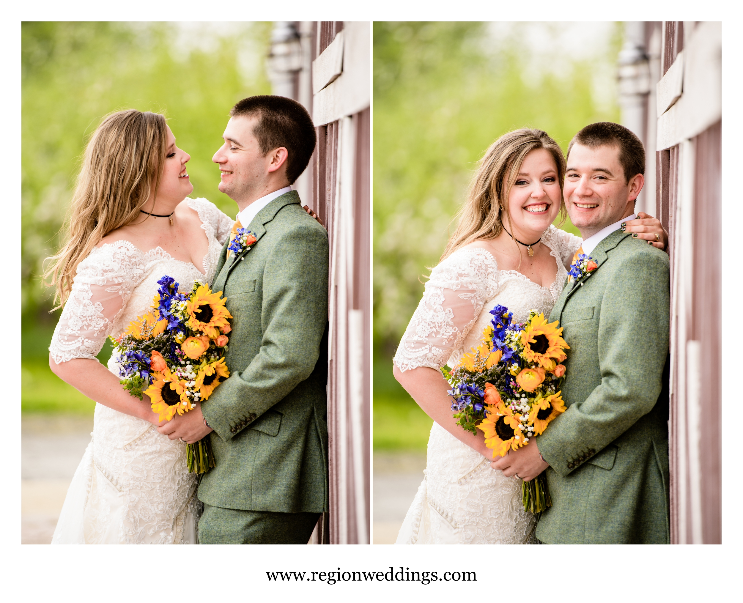 The happy couple at their barn wedding at County Line Orchard.