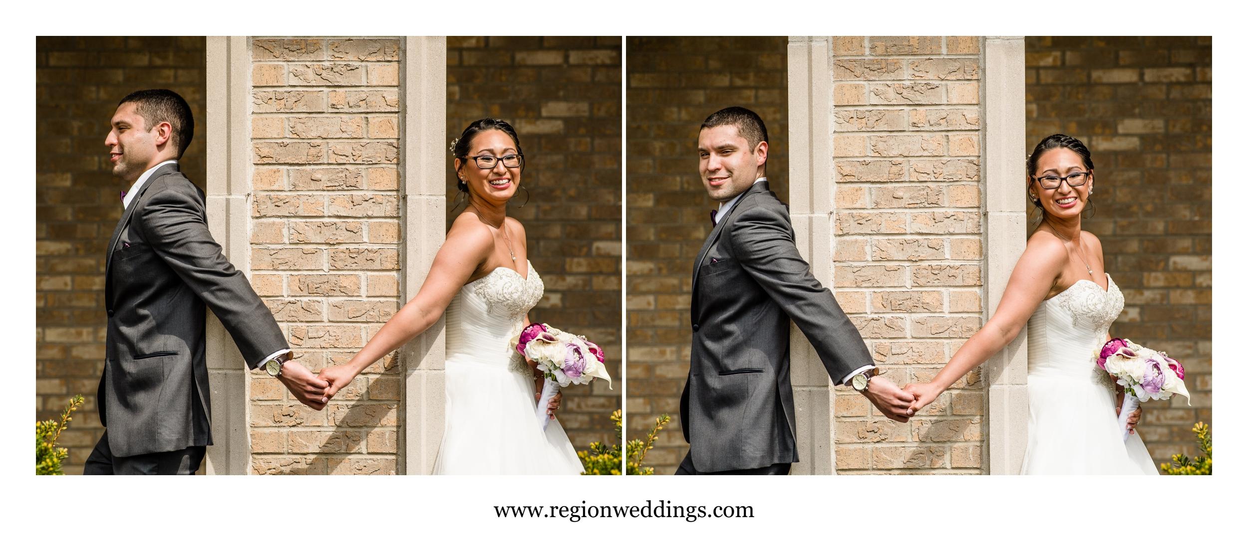 Bride and groom take e a peek-a-boo photo before getting married.