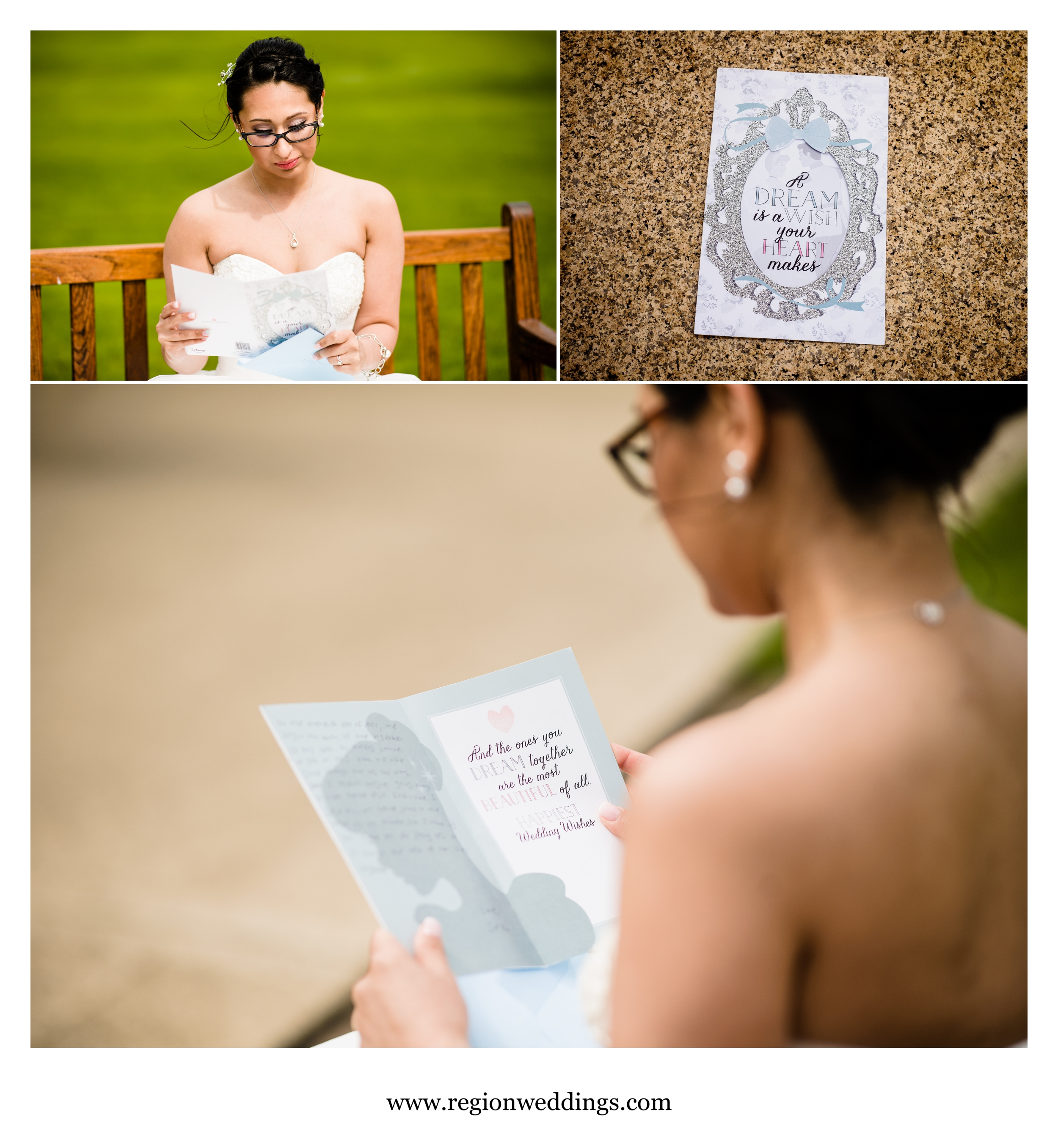 Bride reads a card given to her by the groom.