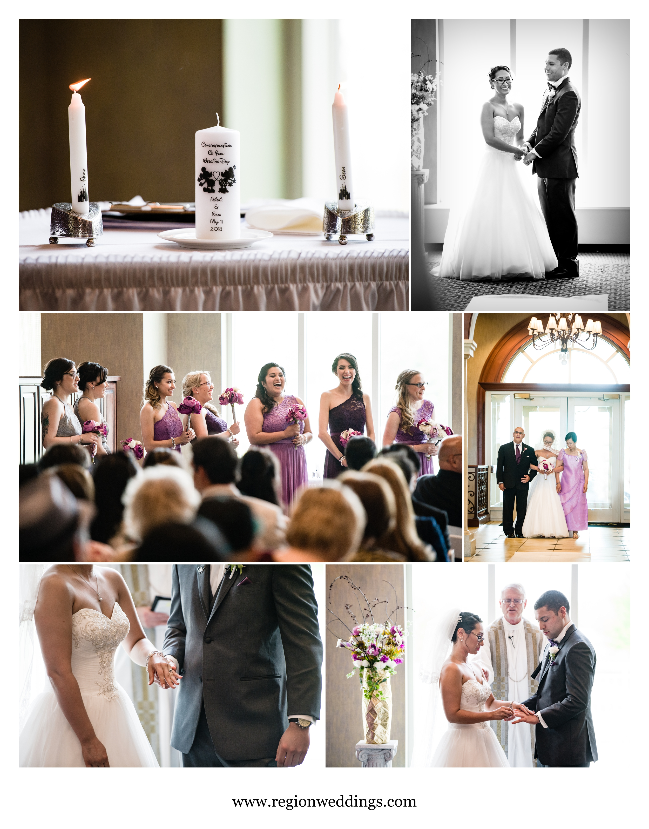 Indoor wedding ceremony at Sand Creek Country Club.