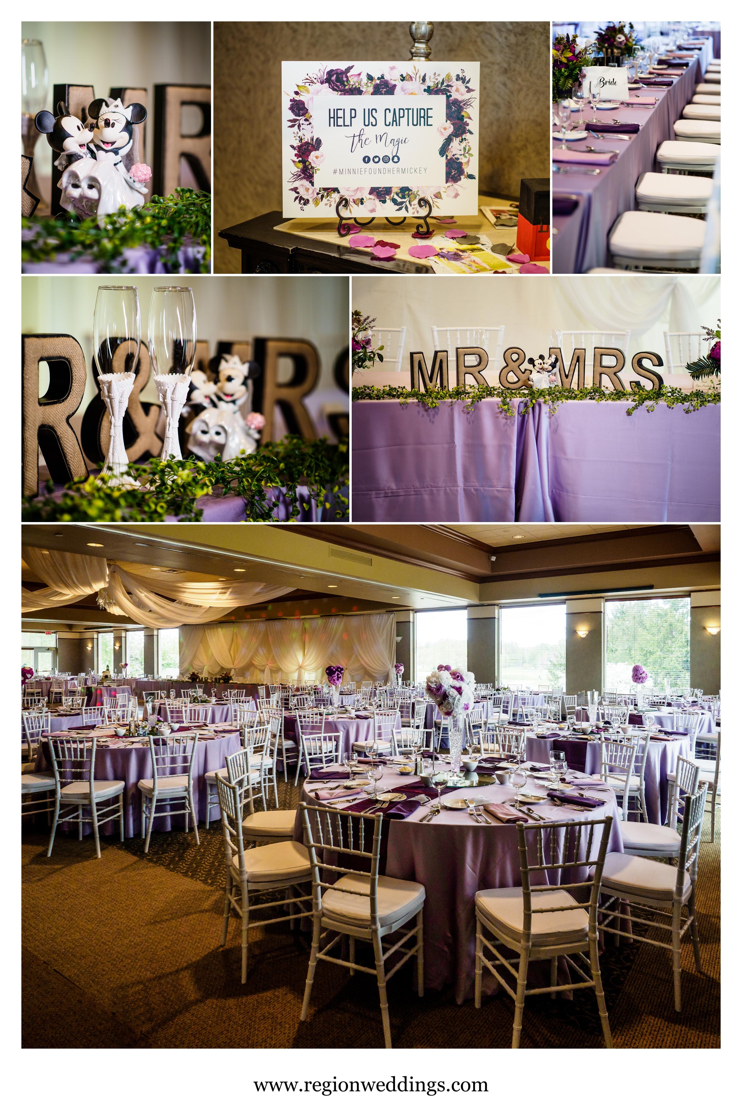 A Disney inspired wedding reception at Sand Creek Country Club.