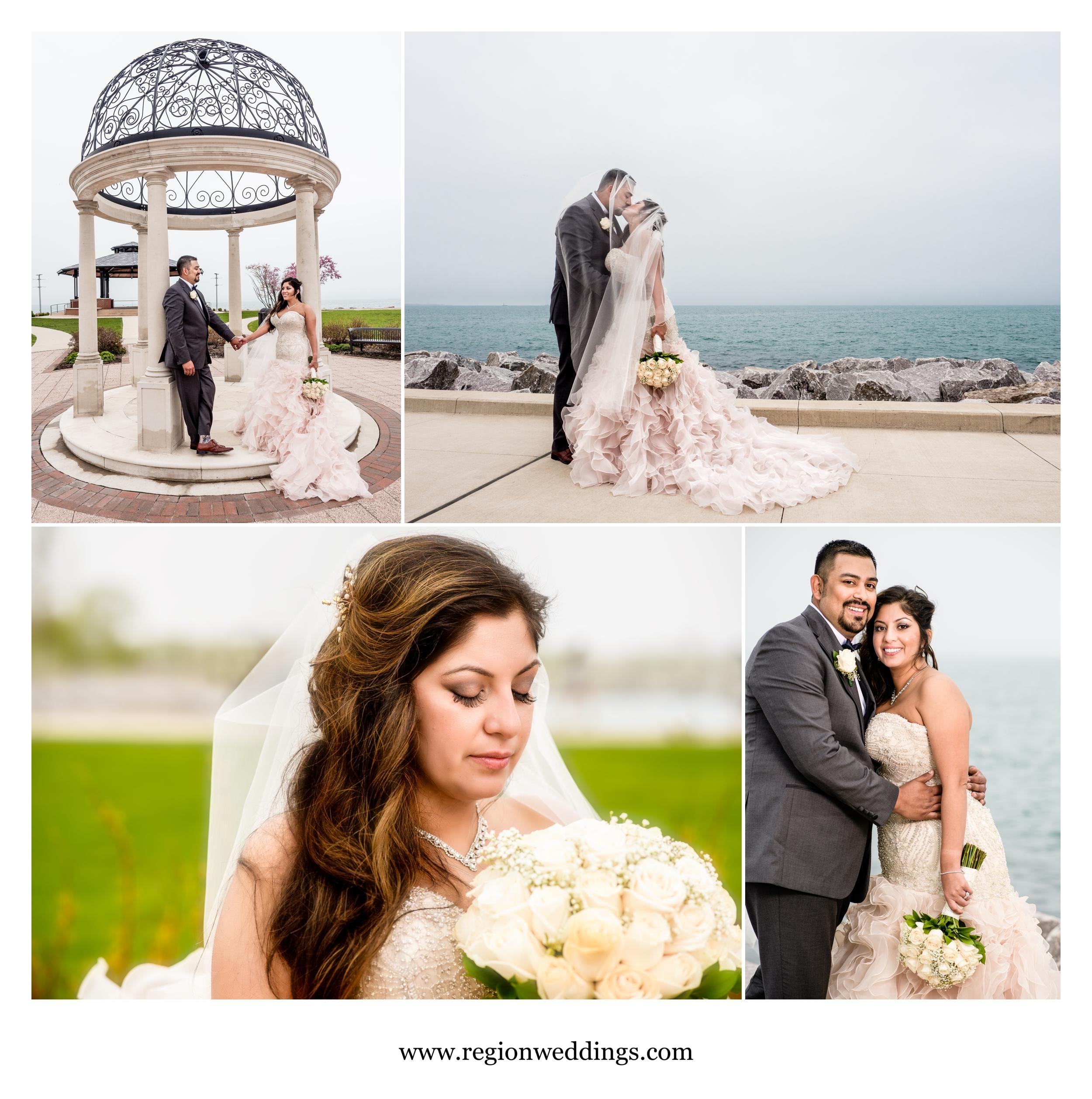 Wedding photos at Whiting Lakefront Park.