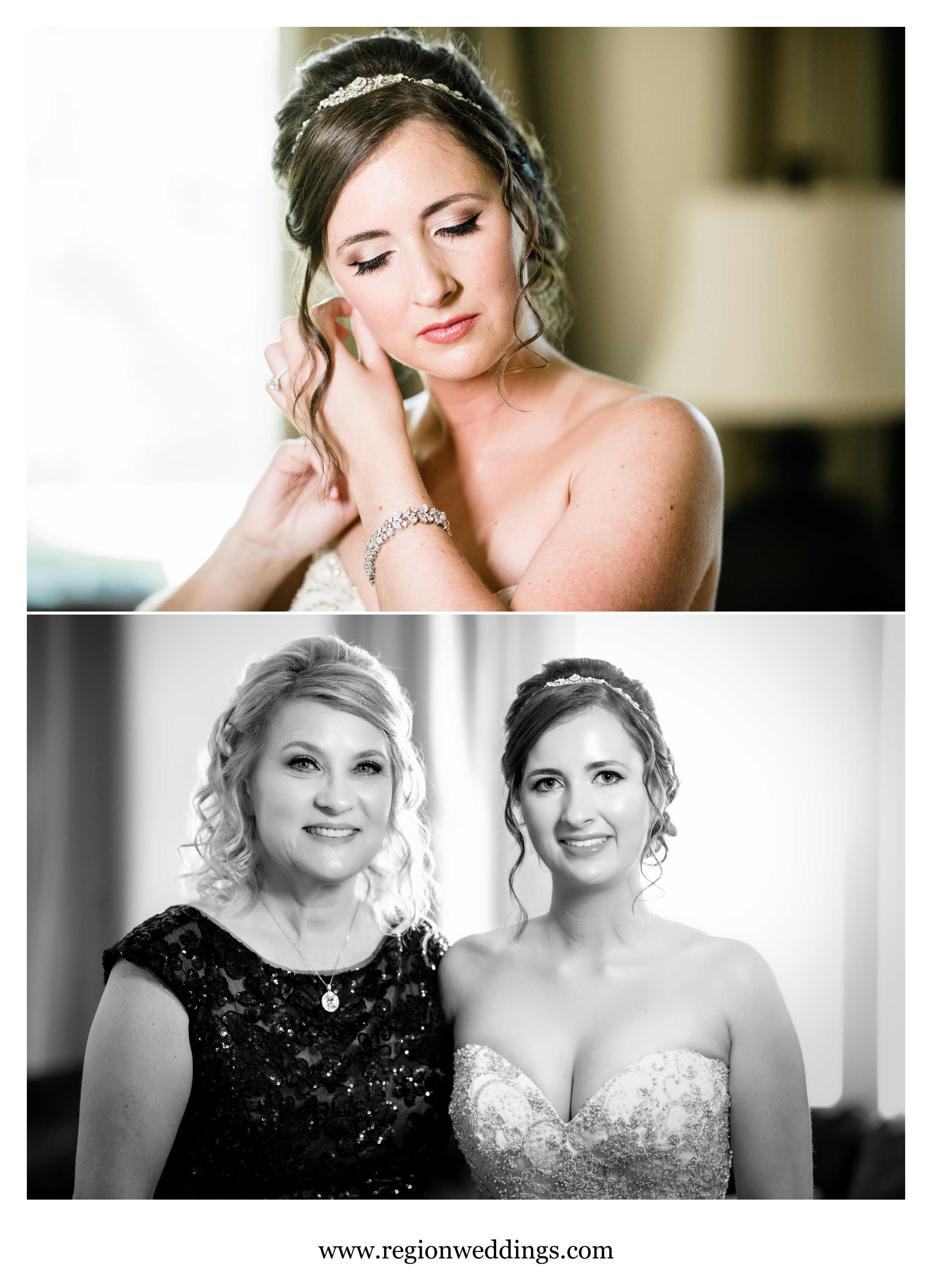 The bride gets ready for a summer wedding at Valparaiso University.