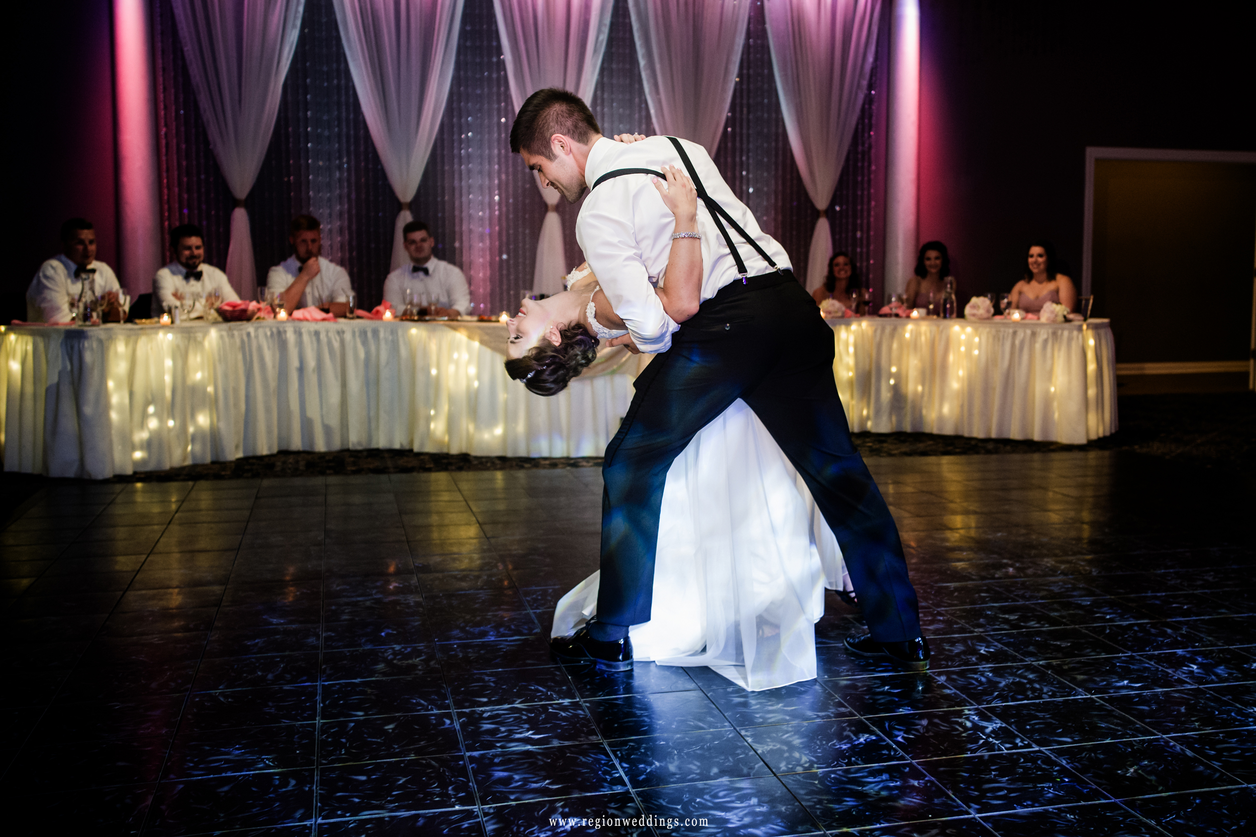 The groom dips his bride at Aberdeen Manor in Valparaiso, Indiana.
