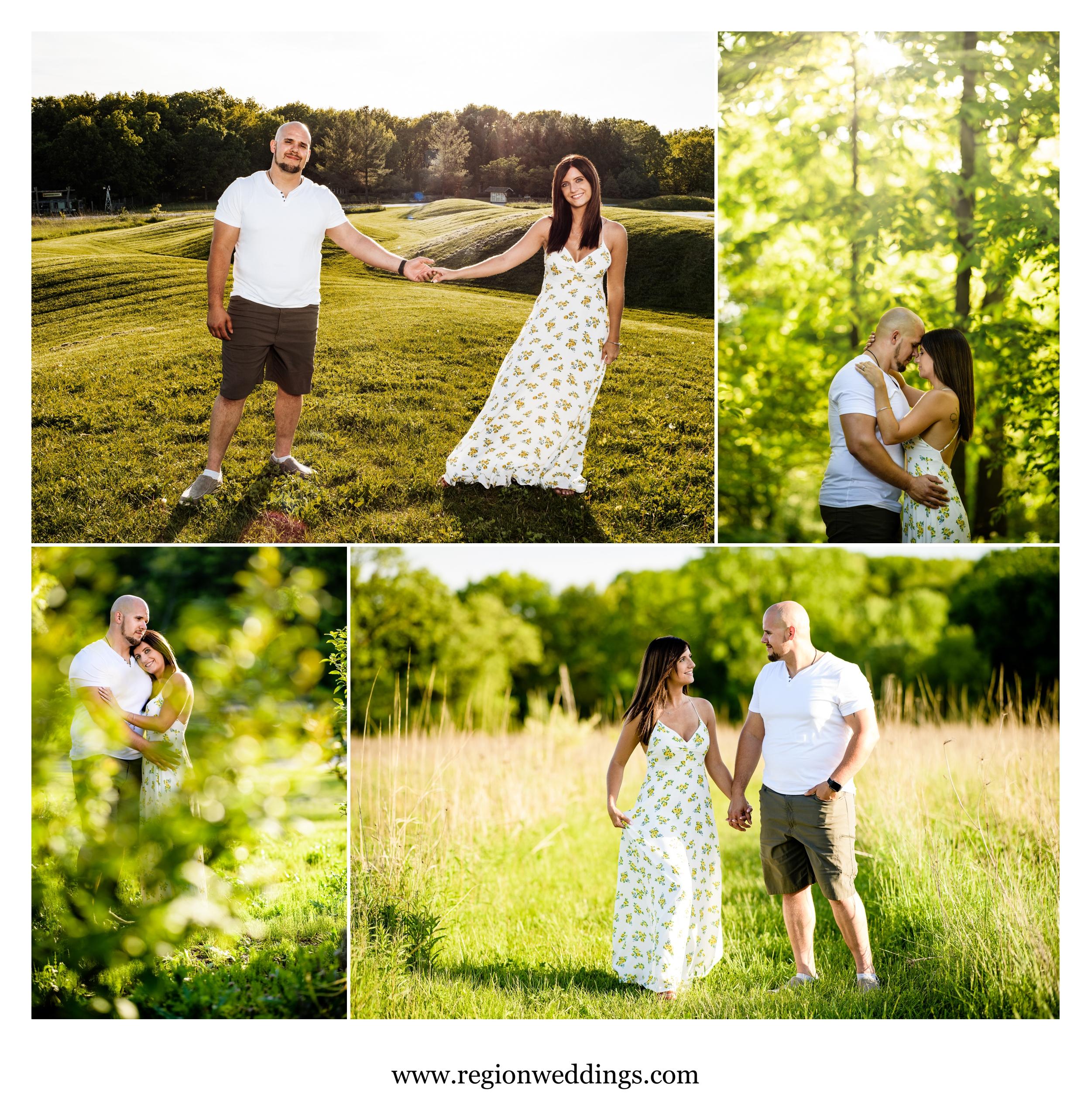 Romantic engagement photos at Gabis Arboretum.