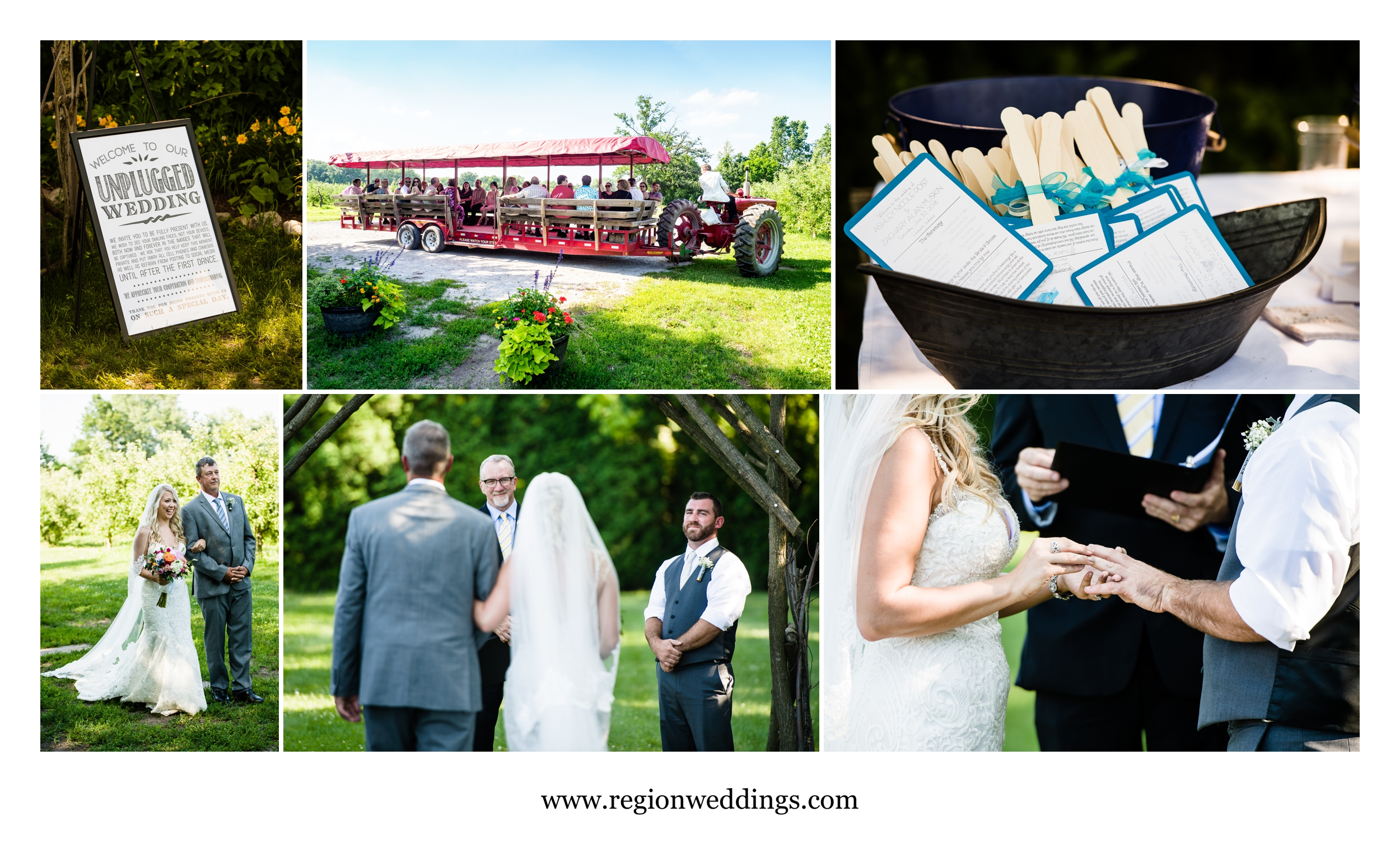 Outdoor wedding at County Line Orchard.