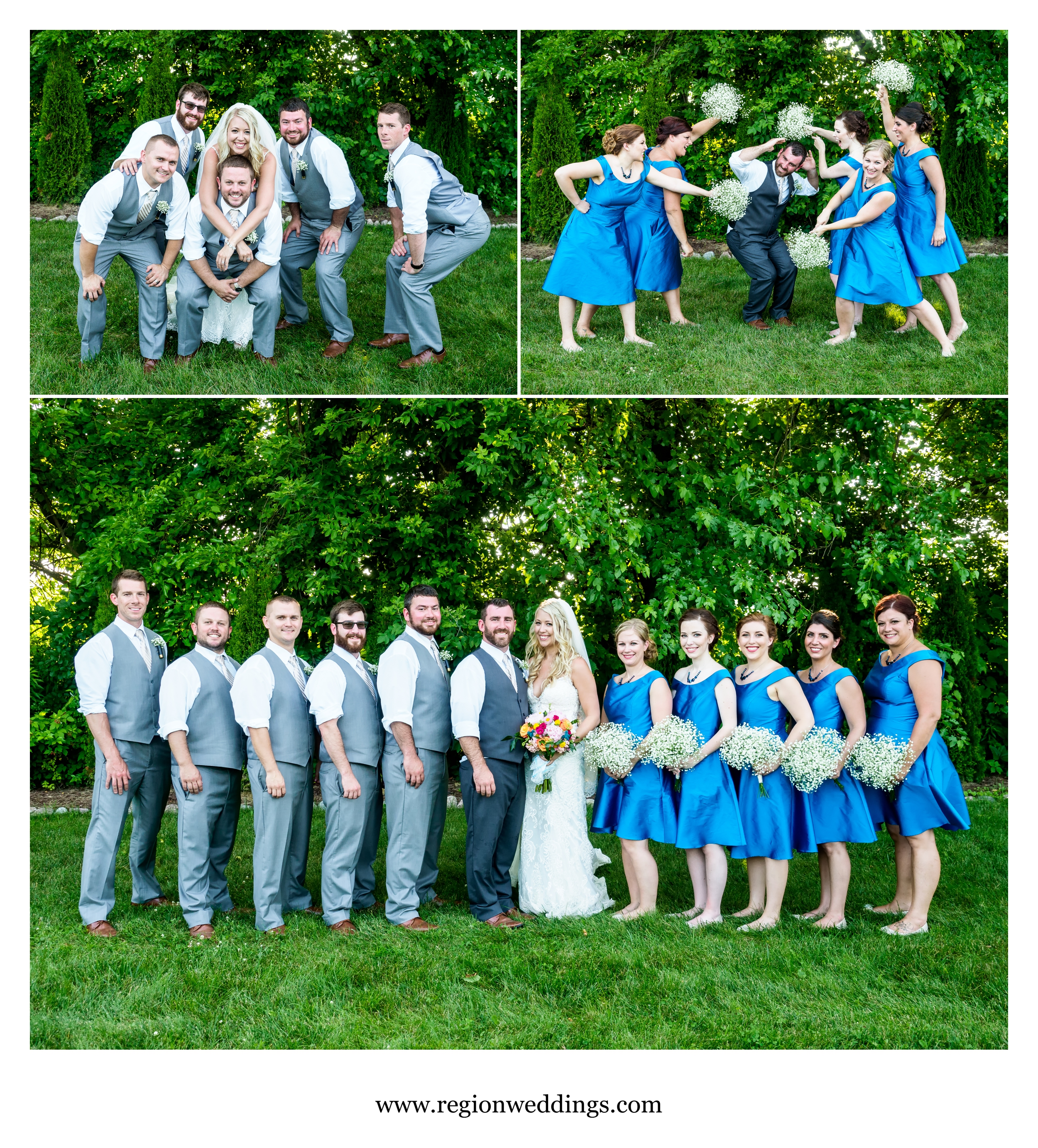 Wedding party group photos at County Line Orchard.