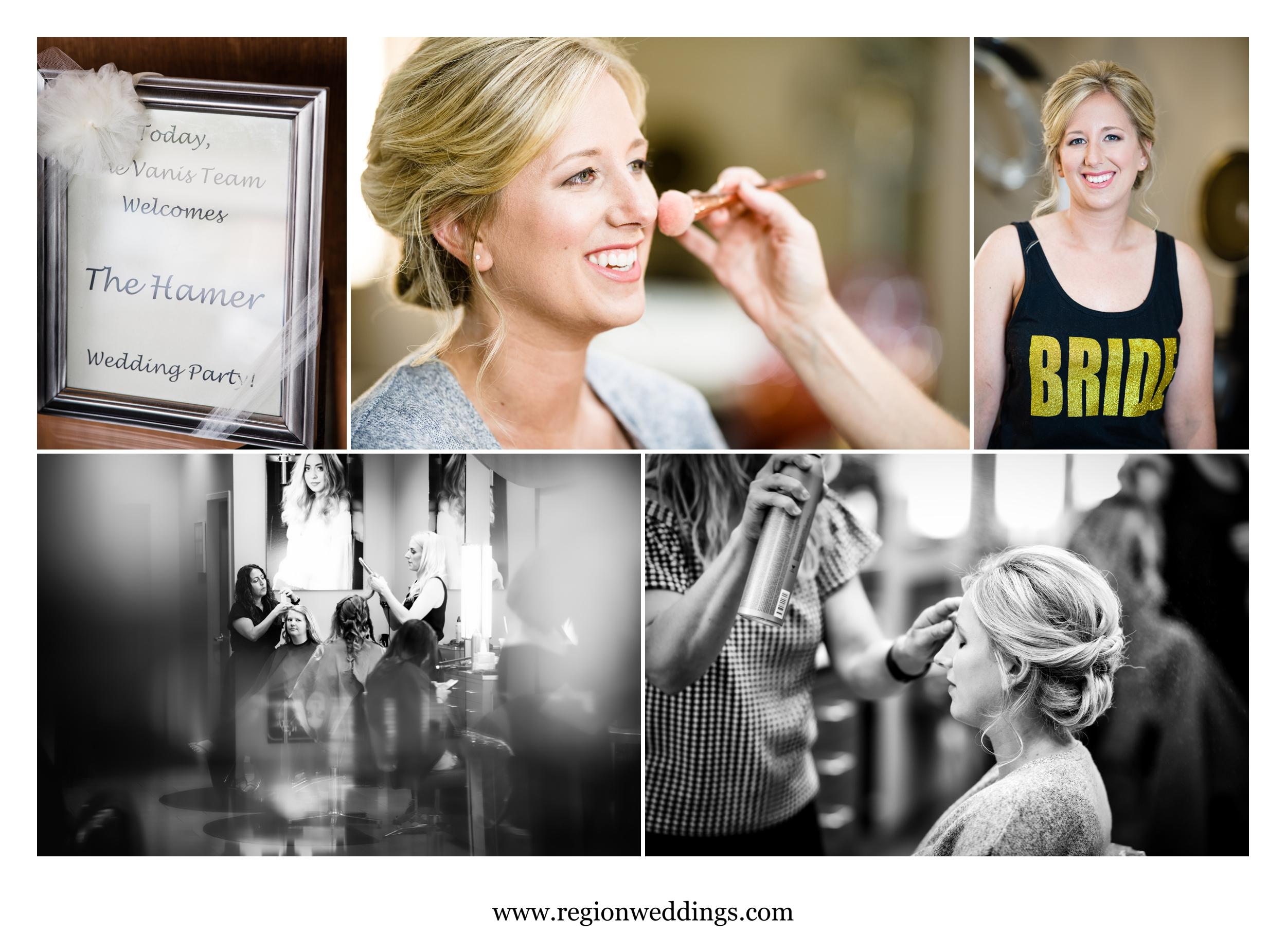 Bridal prep at Vanis Salon and Day Spa.