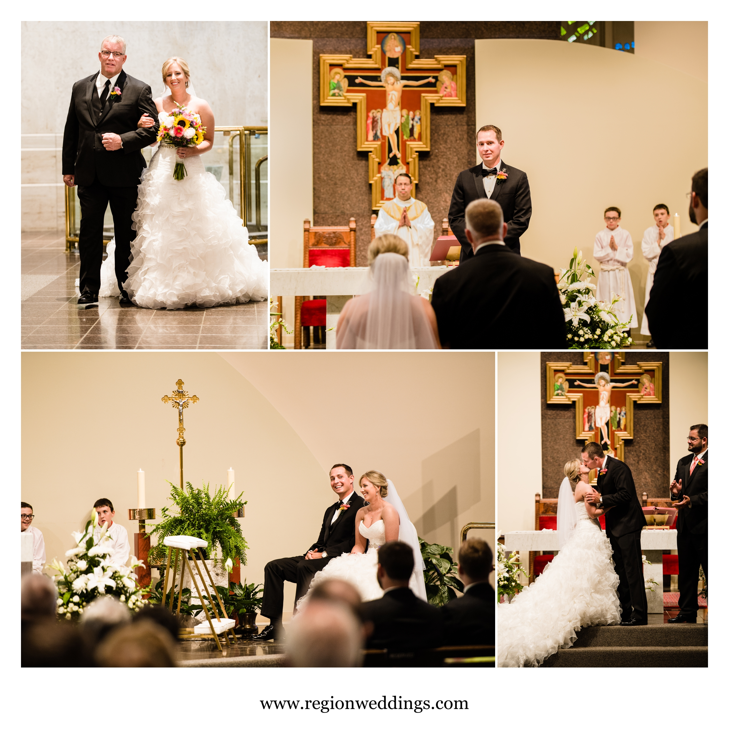 Wedding ceremony at Saint Paul Catholic Church in Valparaiso, Indiana.