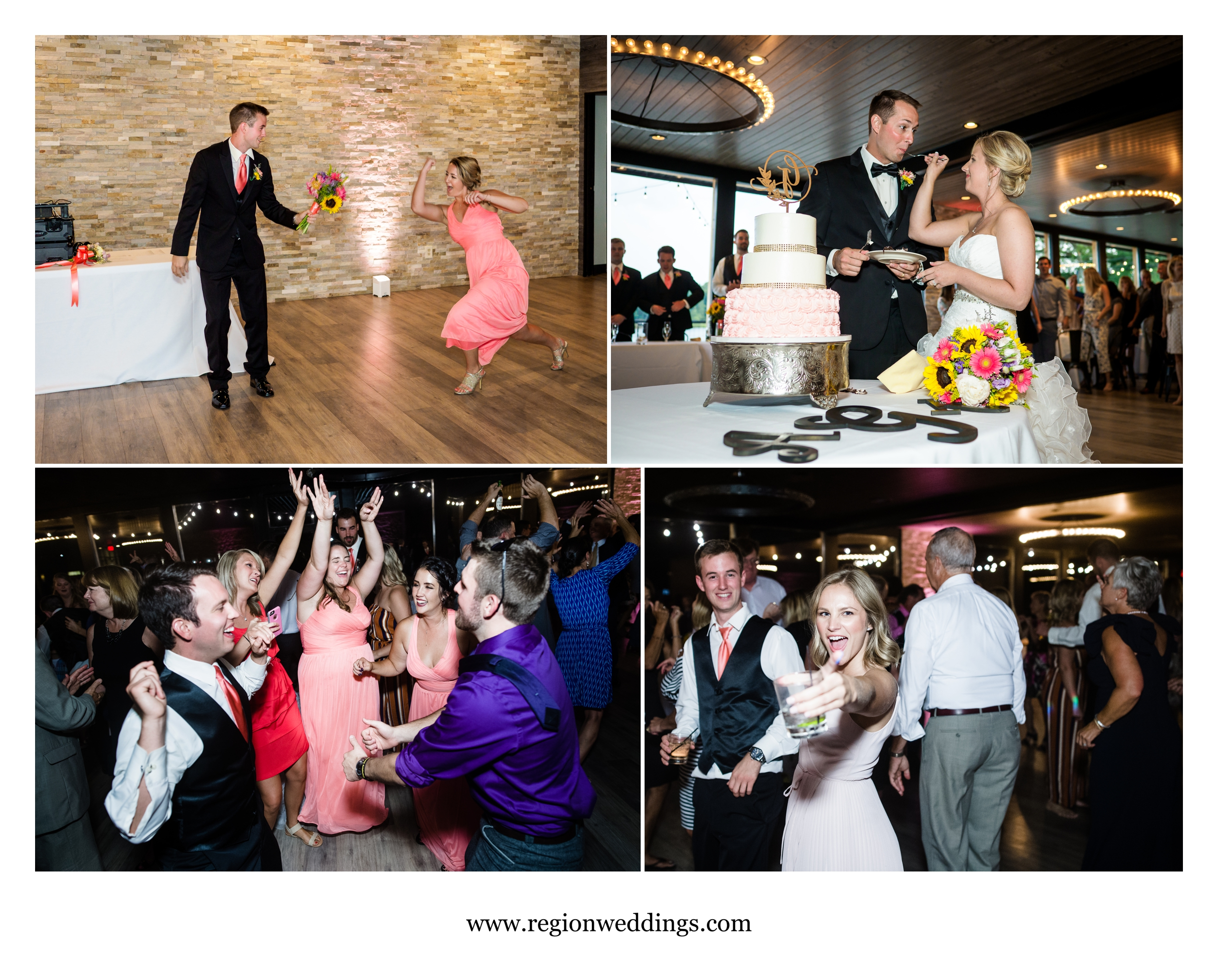 Wedding reception fun at The Allure On The Lake in Chesterton, Indiana.