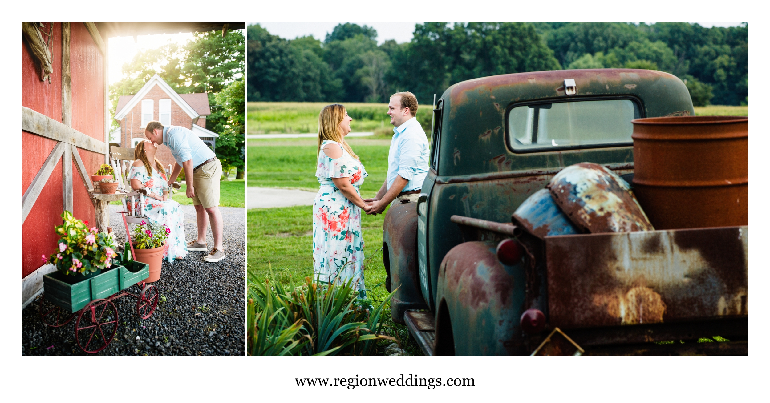 Romantic engagement photos at Four Corners Winery.