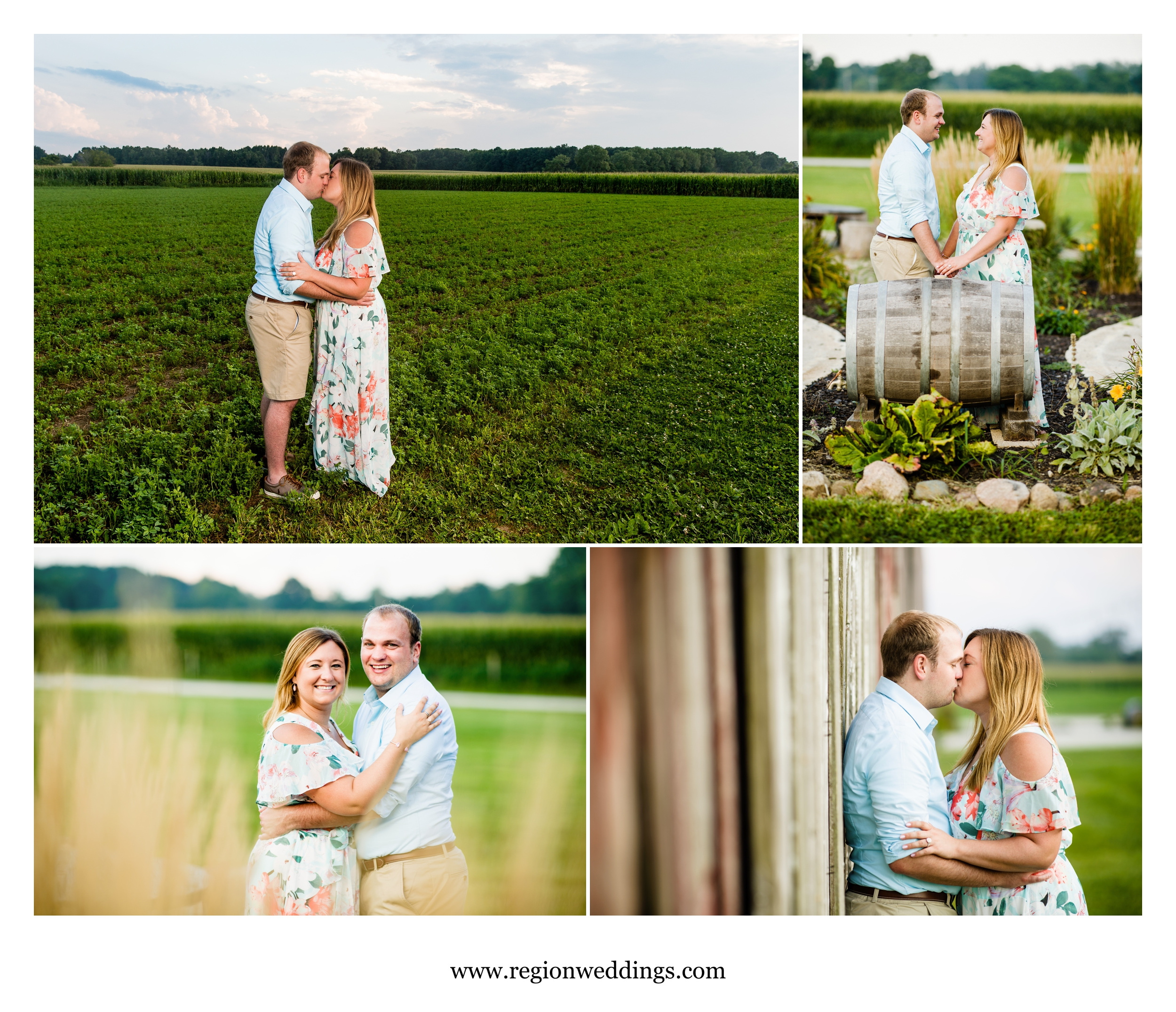 Engagement photos on Indiana farmland.