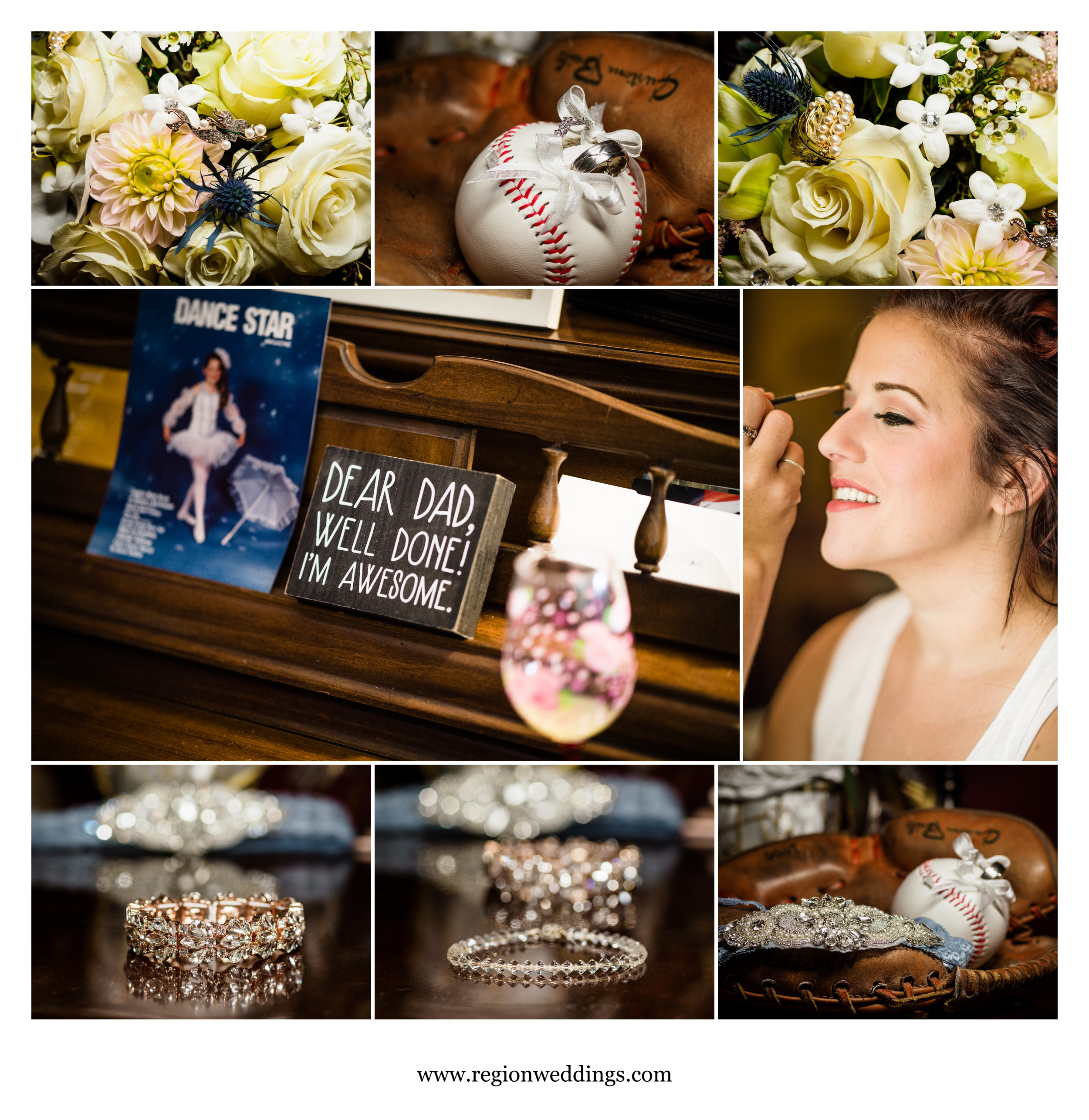 Bridal prep for a summer wedding in Griffith, Indiana.