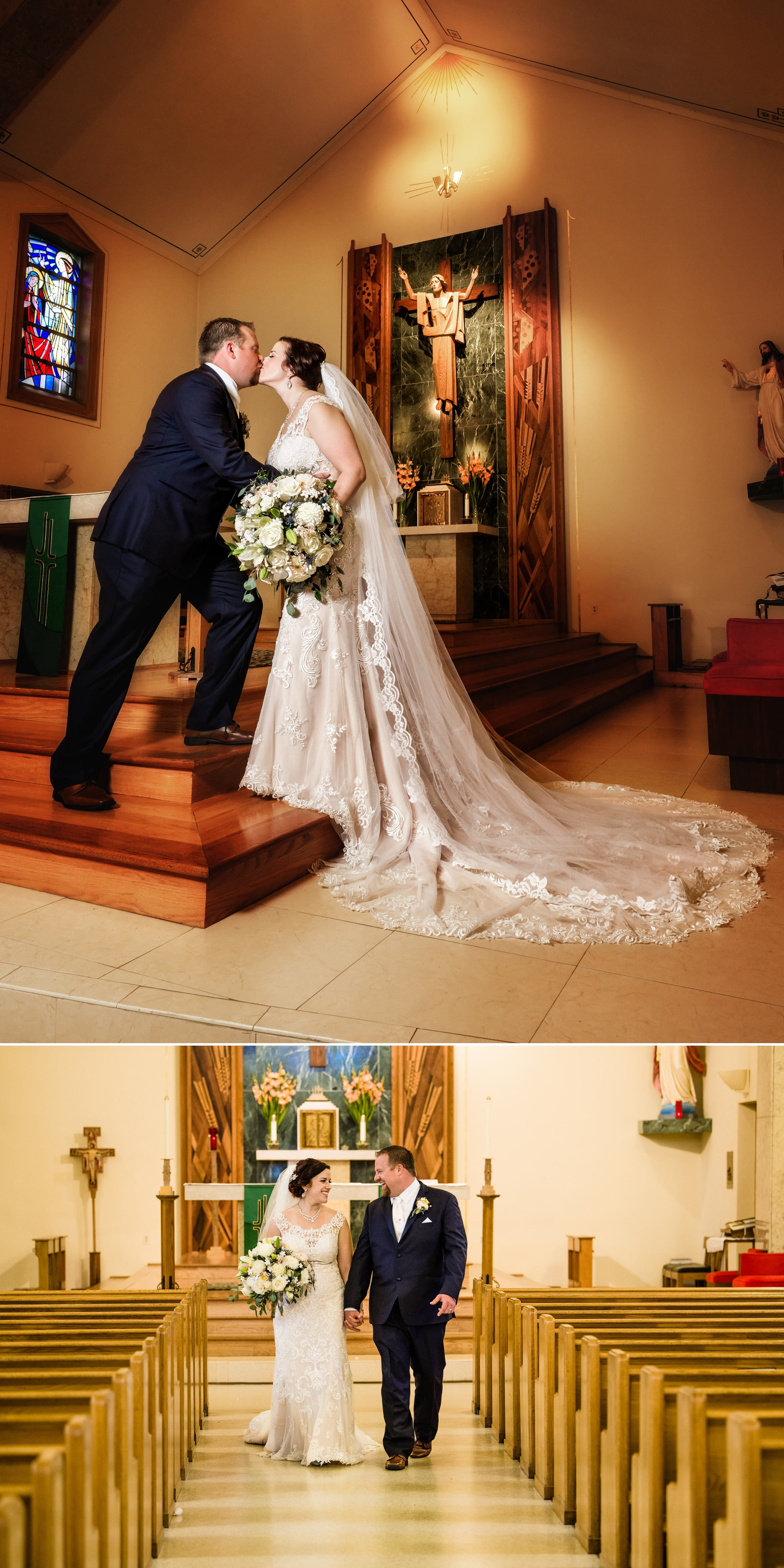 Wedding photos inside Saint Mary Church in Griffith.