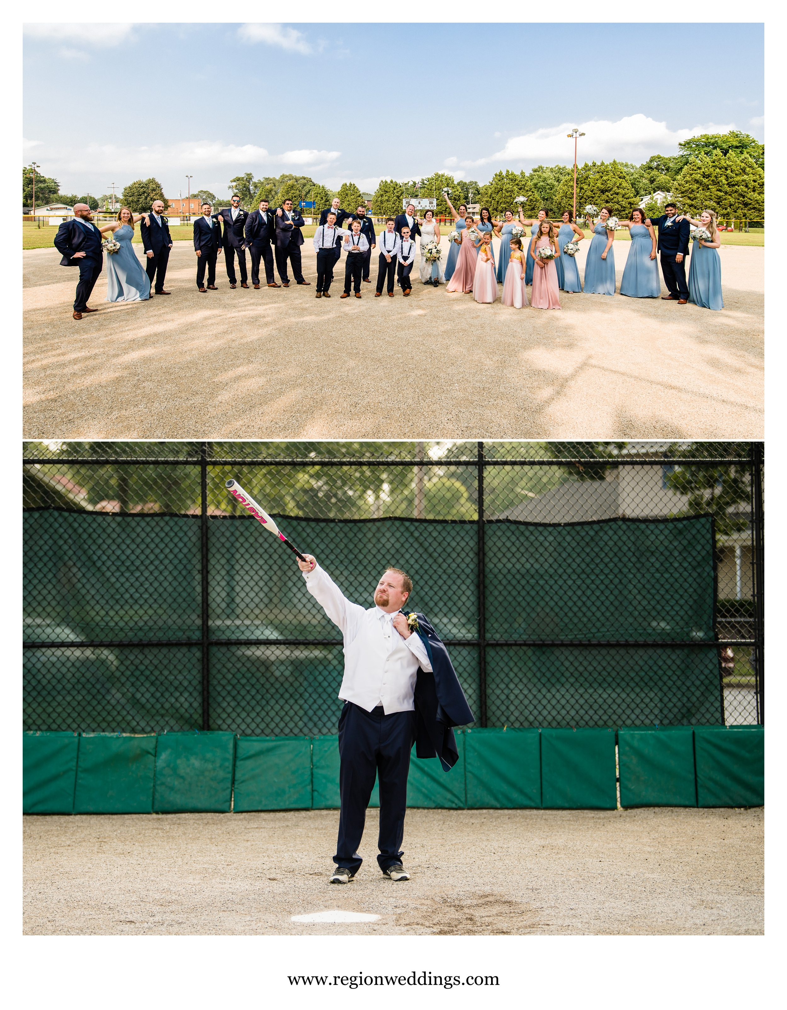 Fun baseball themed wedding photos.