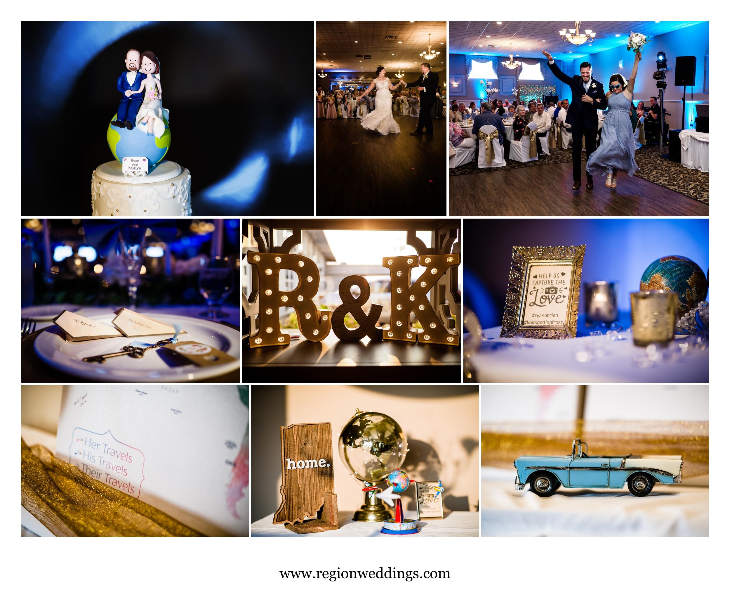 Travel themed wedding reception at Andorra Banquet Hall.