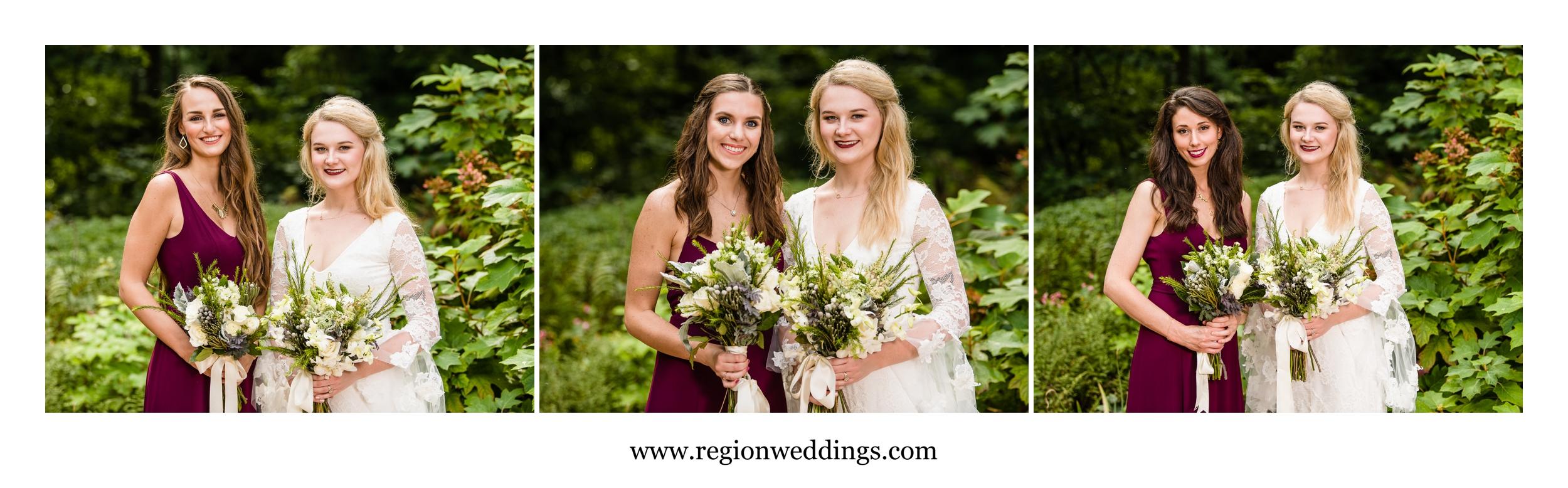 Bridesmaids in the garden.