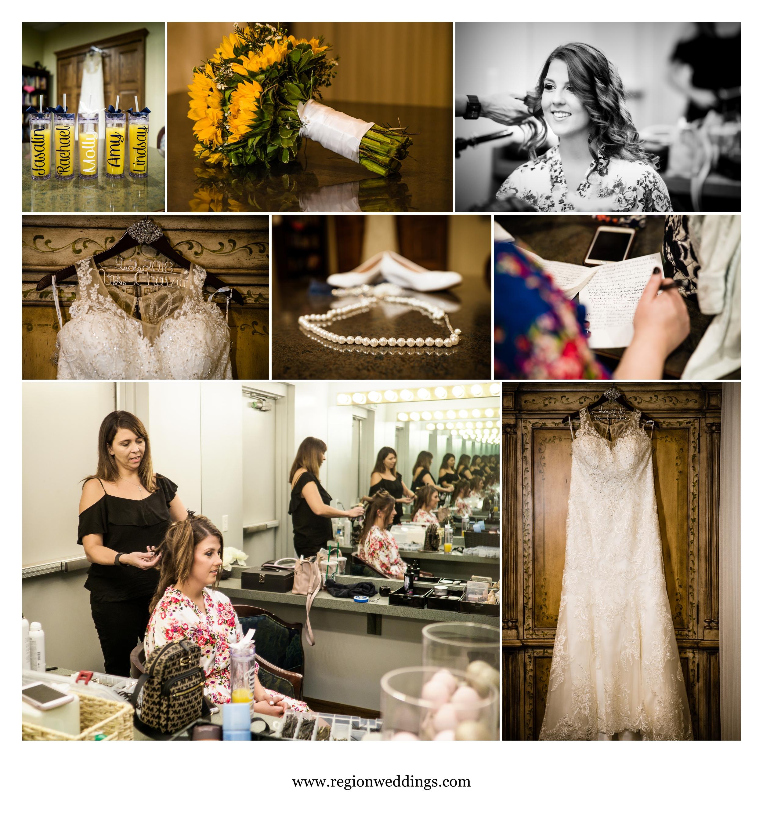 Prep in the bridal suite of Briar Ridge Country Club.