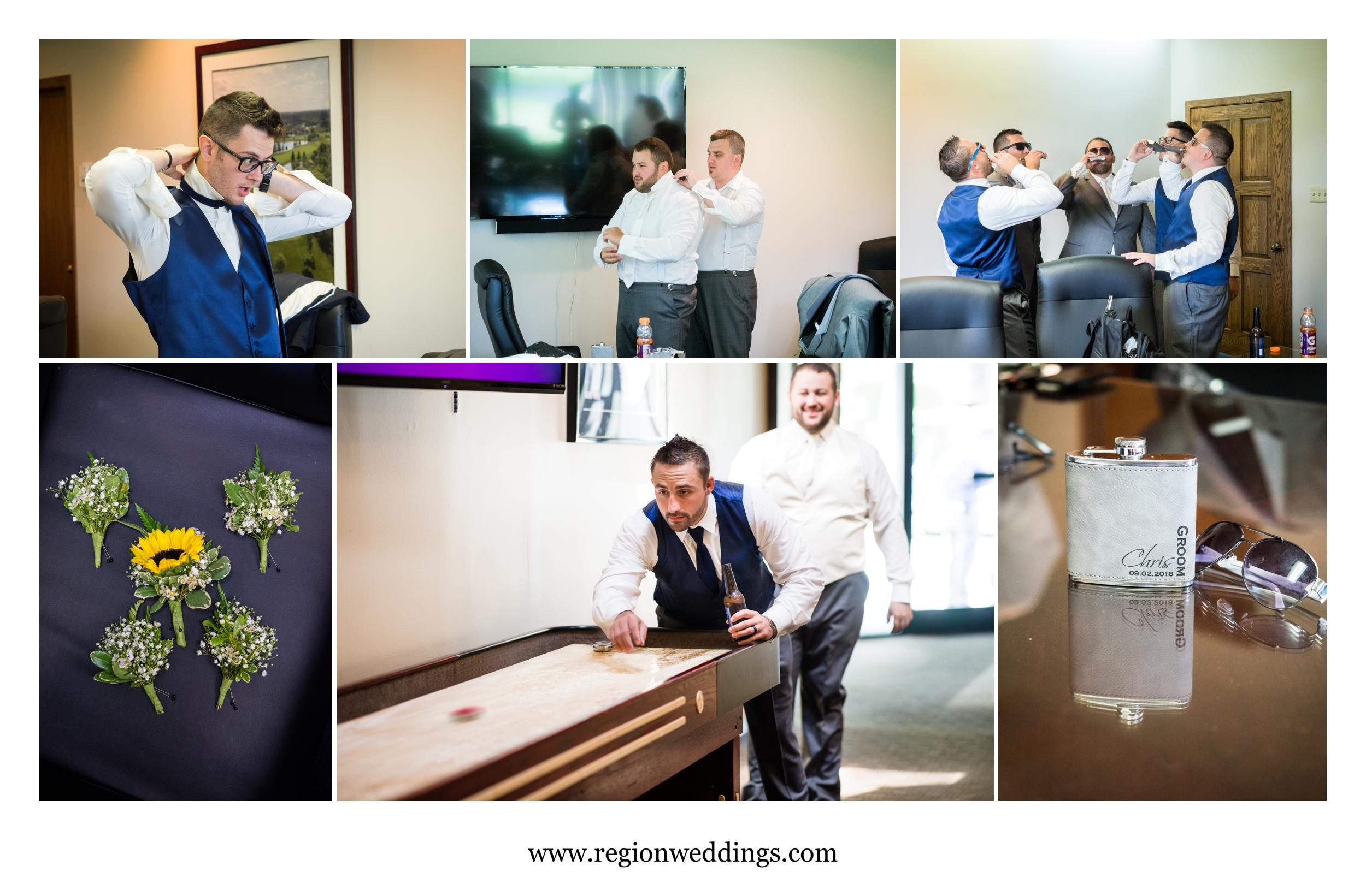 Groomsmen wedding day prep.
