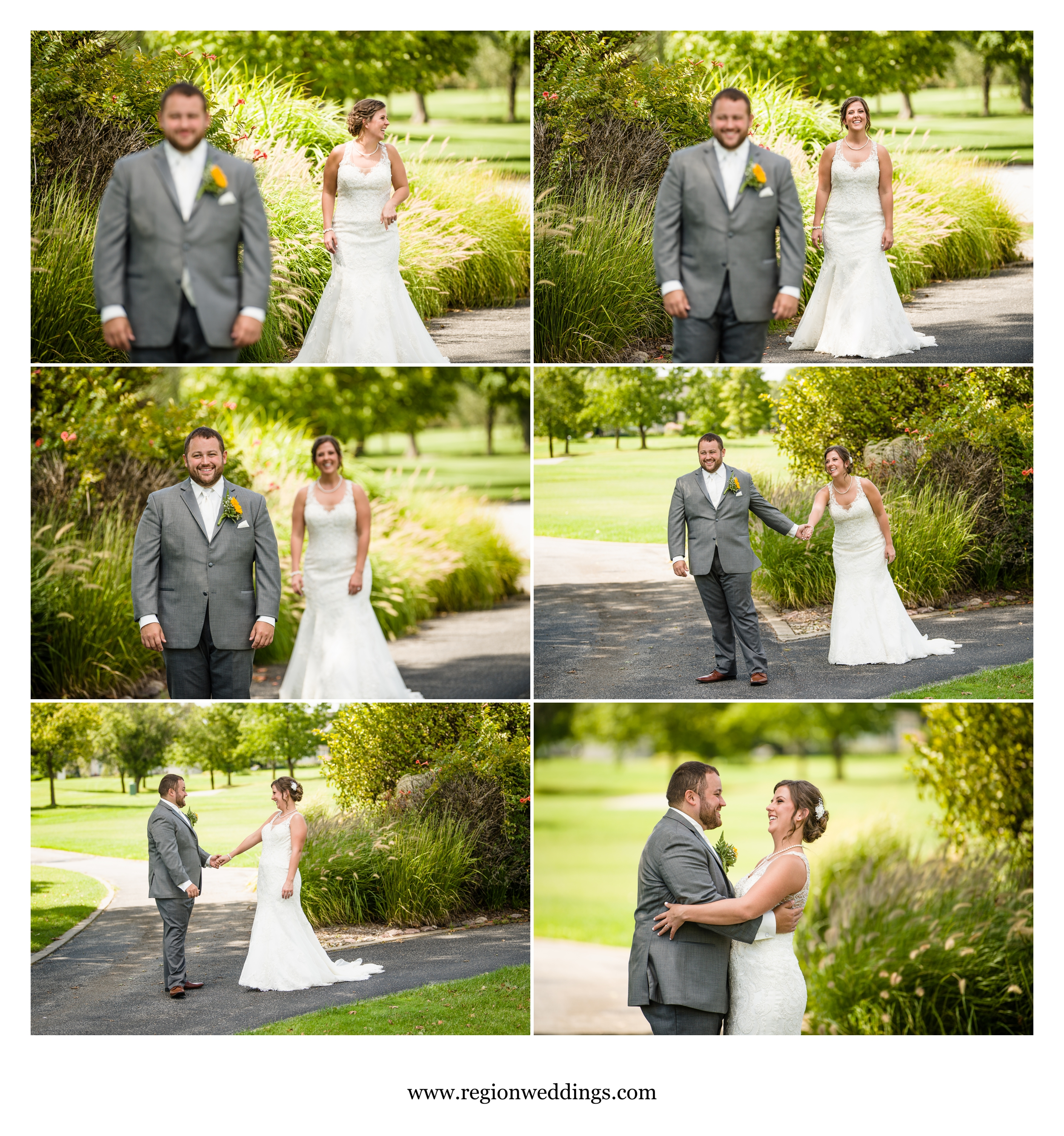 First look for the bride and groom on Briar Ridge golf course.