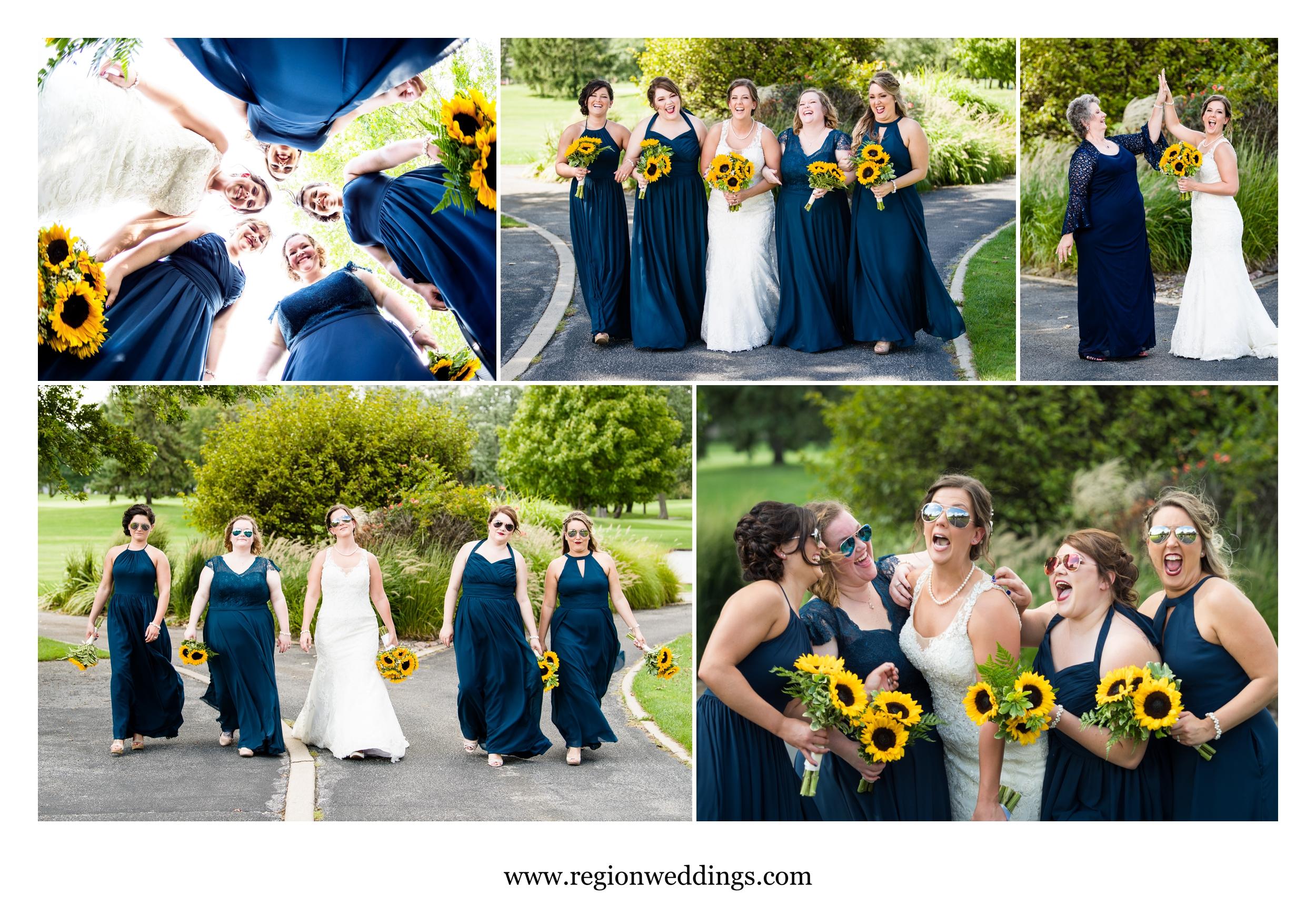 Fun bridesmaid pictures at Briar Ridge golf course.